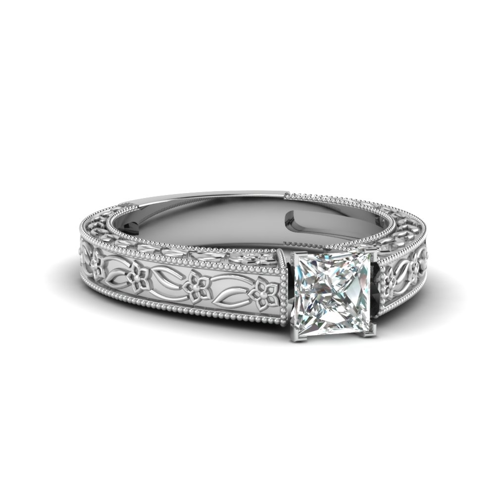 Vintage Engraved Princess Cut Solitaire Engagement Ring In 14k White For Most Up To Date Princess Cut Diamond Frame Vintage Style Twist Bridal Rings In 14k White Gold (View 10 of 15)