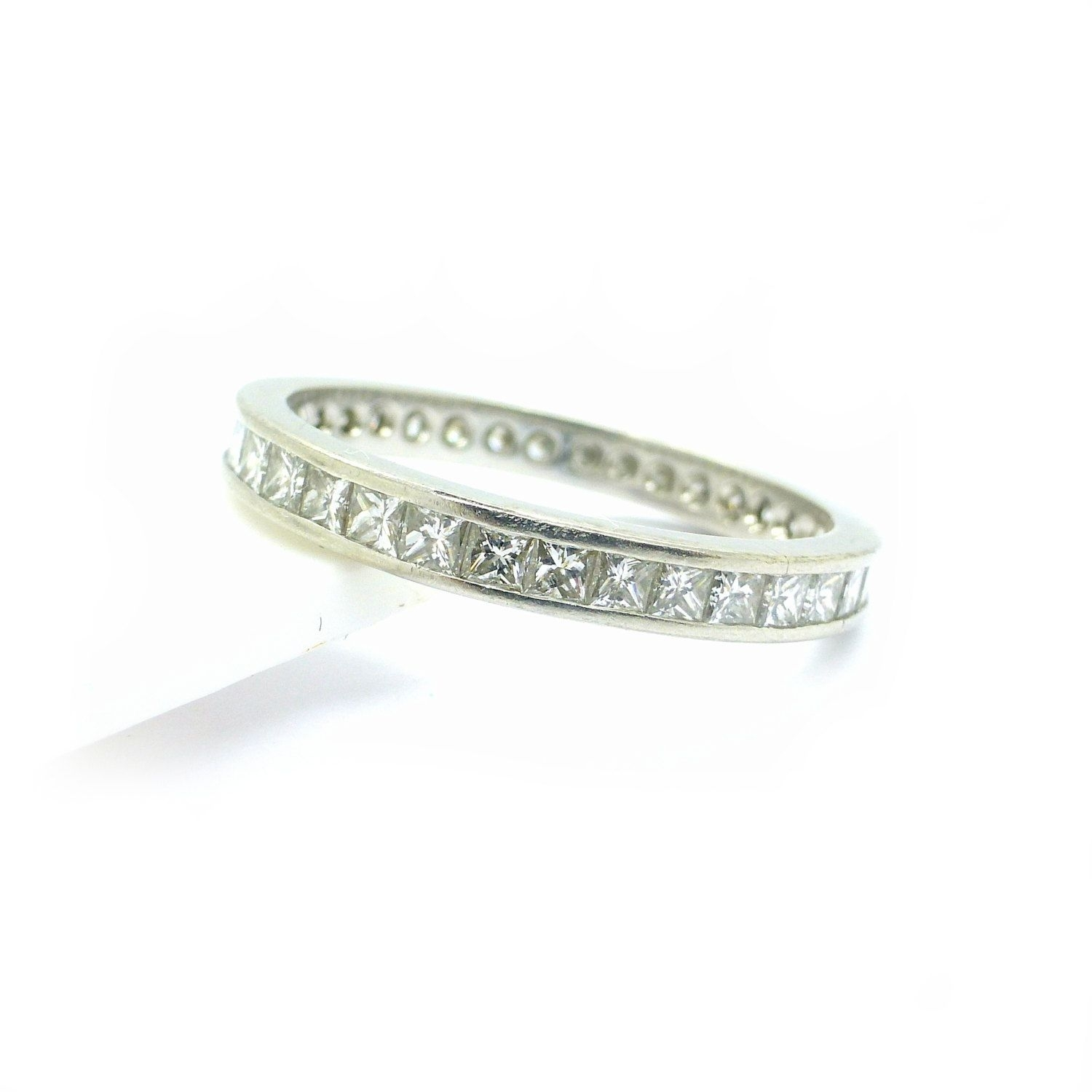 Vintage Estate Platinum Diamond Wedding Band Princess Square Cut Inside Most Recently Released Diamond Art Deco Vintage Style Anniversary Bands (Gallery 5 of 15)