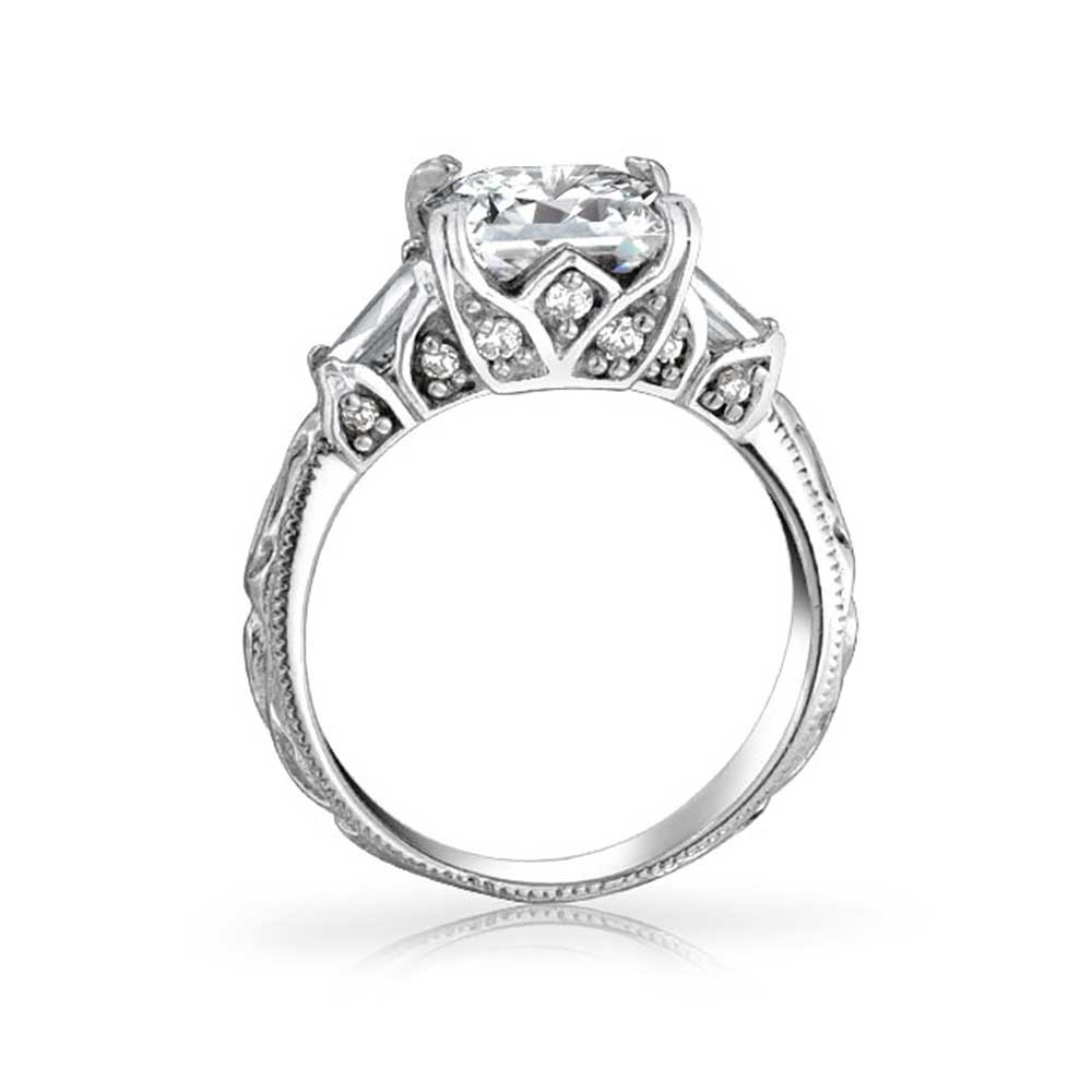 Vintage Filigree Princess Cut Engagement Ring Gatsby Inspired In 2018 Vintage Style Princess Cut Diamond Engagement Rings (View 8 of 15)