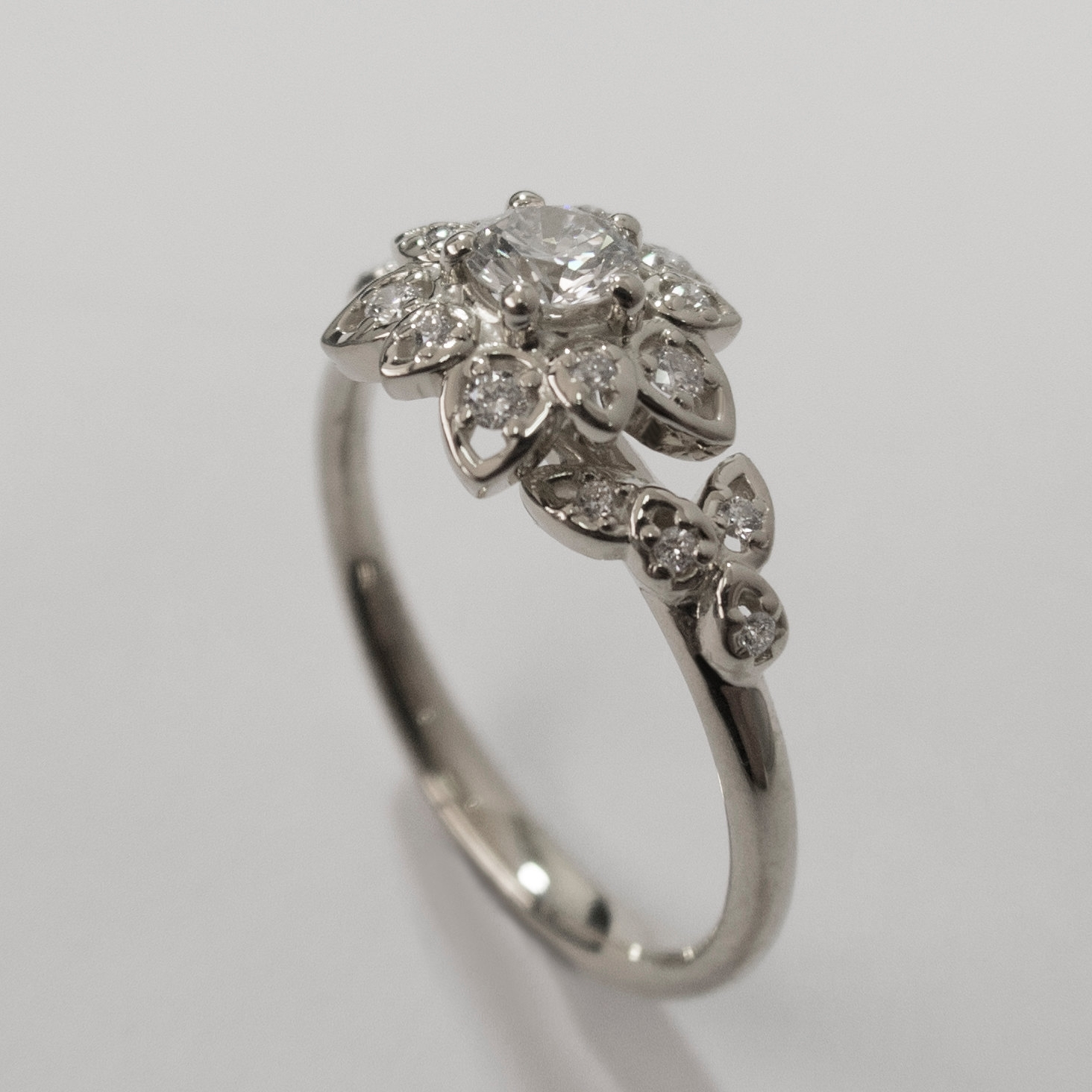 Vintage Filigree White Gold And Diamond Petal Engagement With 2018 Diamond Flower Vintage Style Engagement Rings In 14K White Gold (View 13 of 15)