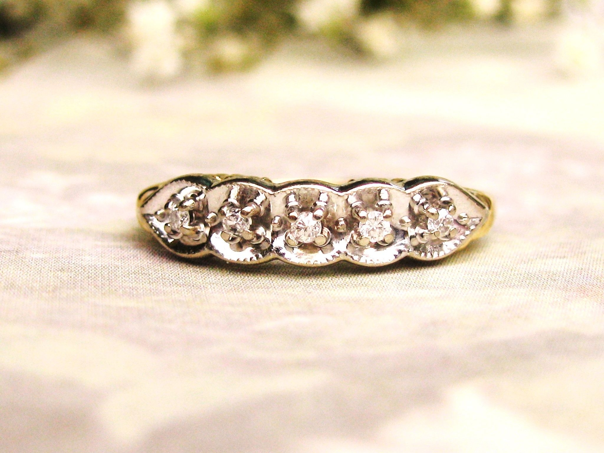 Vintage Five Stone Diamond Wedding Ring Scalloped Edge Illusion Intended For Recent Diamond Five Stone Bands In 10K Two Tone Gold (Gallery 4 of 15)