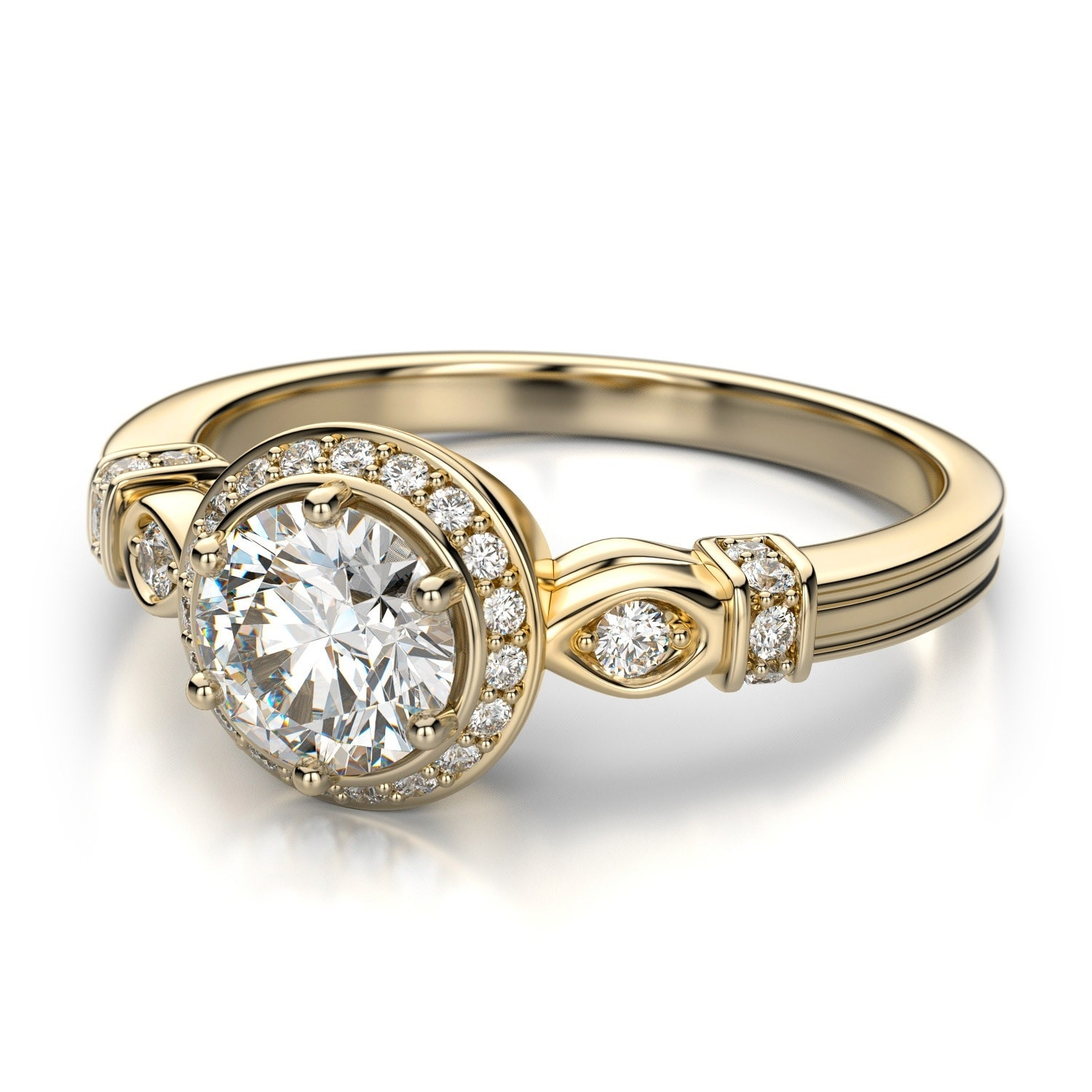 Vintage Low Dome Diamond Engagement Ring – 18K Yellow Gold ( (View 14 of 15)