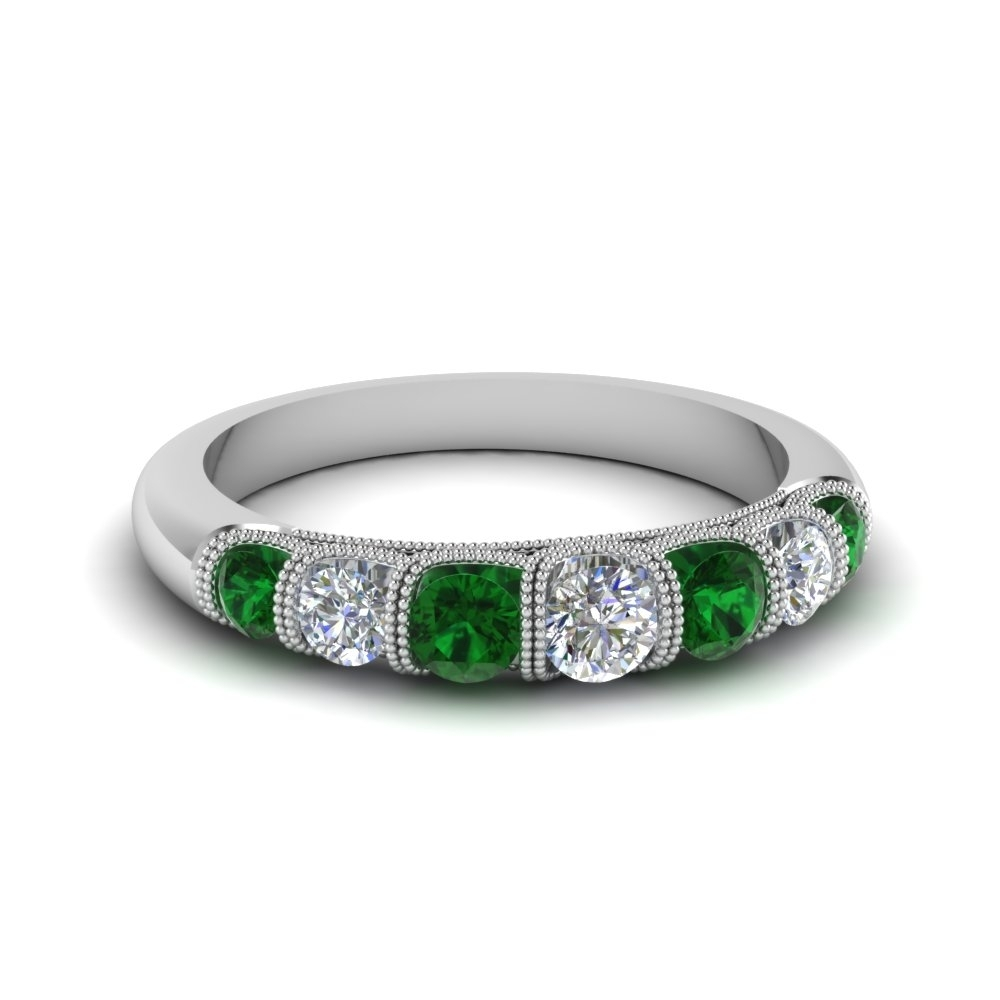 Vintage Seven Stone Diamond Womens Wedding Band With Emerald In 14K Pertaining To Most Popular Emerald And Diamond Seven Stone Wedding Bands In 14K Gold (View 15 of 15)