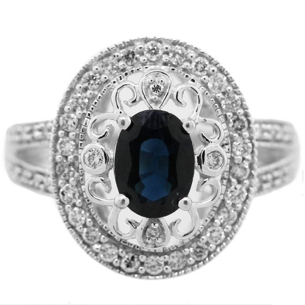 Vintage Style 14K White Gold Sapphire, Diamond Ring Boca Raton Pertaining To Newest Vintage Style Sapphire Engagement Rings (View 9 of 15)