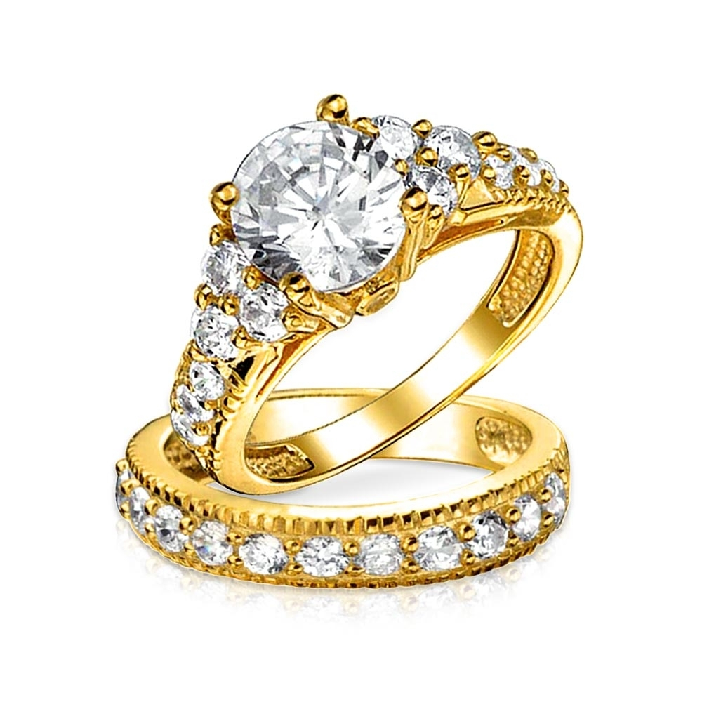 Vintage Style 925 Silver 2Ct Cz Engagement Wedding Ring Set Regarding 2017 Vintage Style Gold Engagement Rings (Gallery 10 of 15)