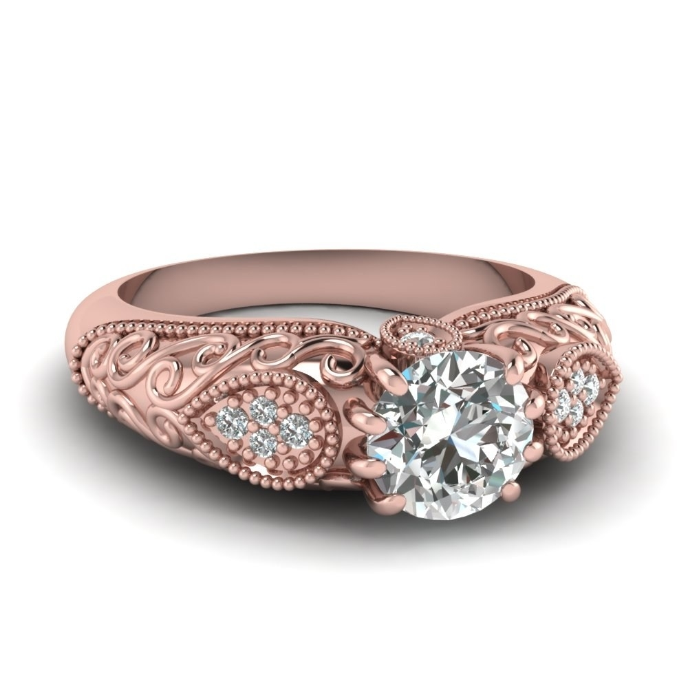 Vintage Style Engagement Rings Rose Gold Beautiful Edwardian Pertaining To Most Recent Diamond Vintage Style Engagement Rings (Gallery 15 of 15)