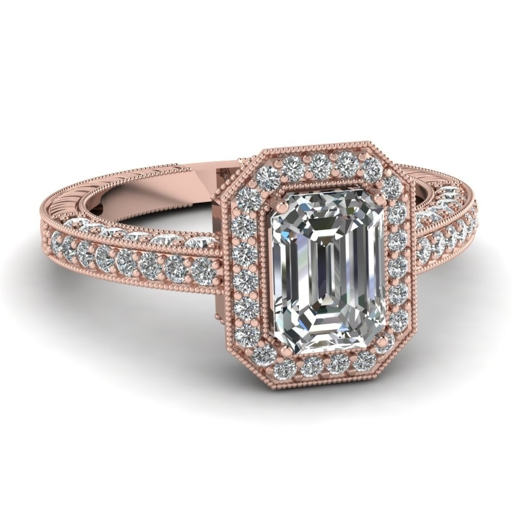 Vintage Style Engagement Rings Rose Gold Beautiful Emerald Cut Within Most Popular Gold Vintage Style Diamond Rings (View 11 of 15)