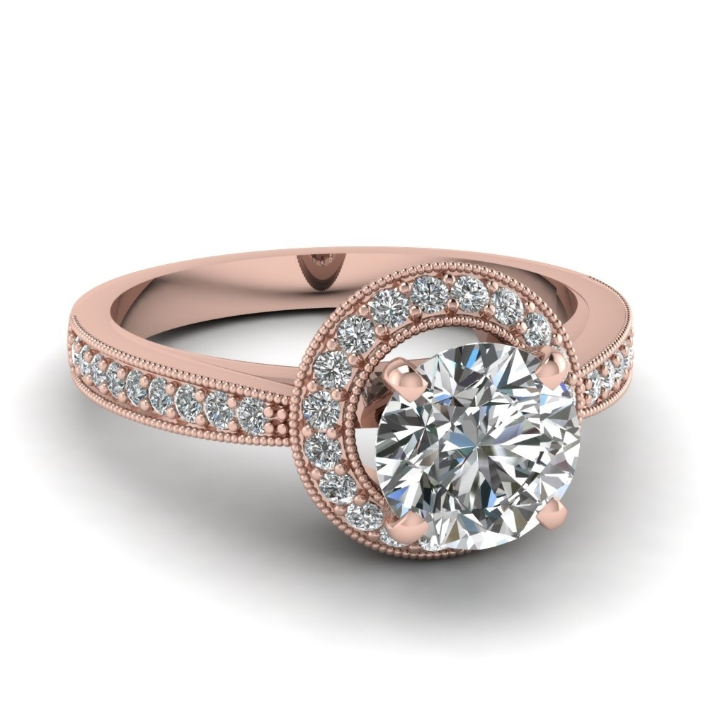Vintage Style Engagement Rings Rose Gold Lovely Rose Gold Vintage Throughout 2017 Gold Vintage Style Diamond Rings (View 13 of 15)
