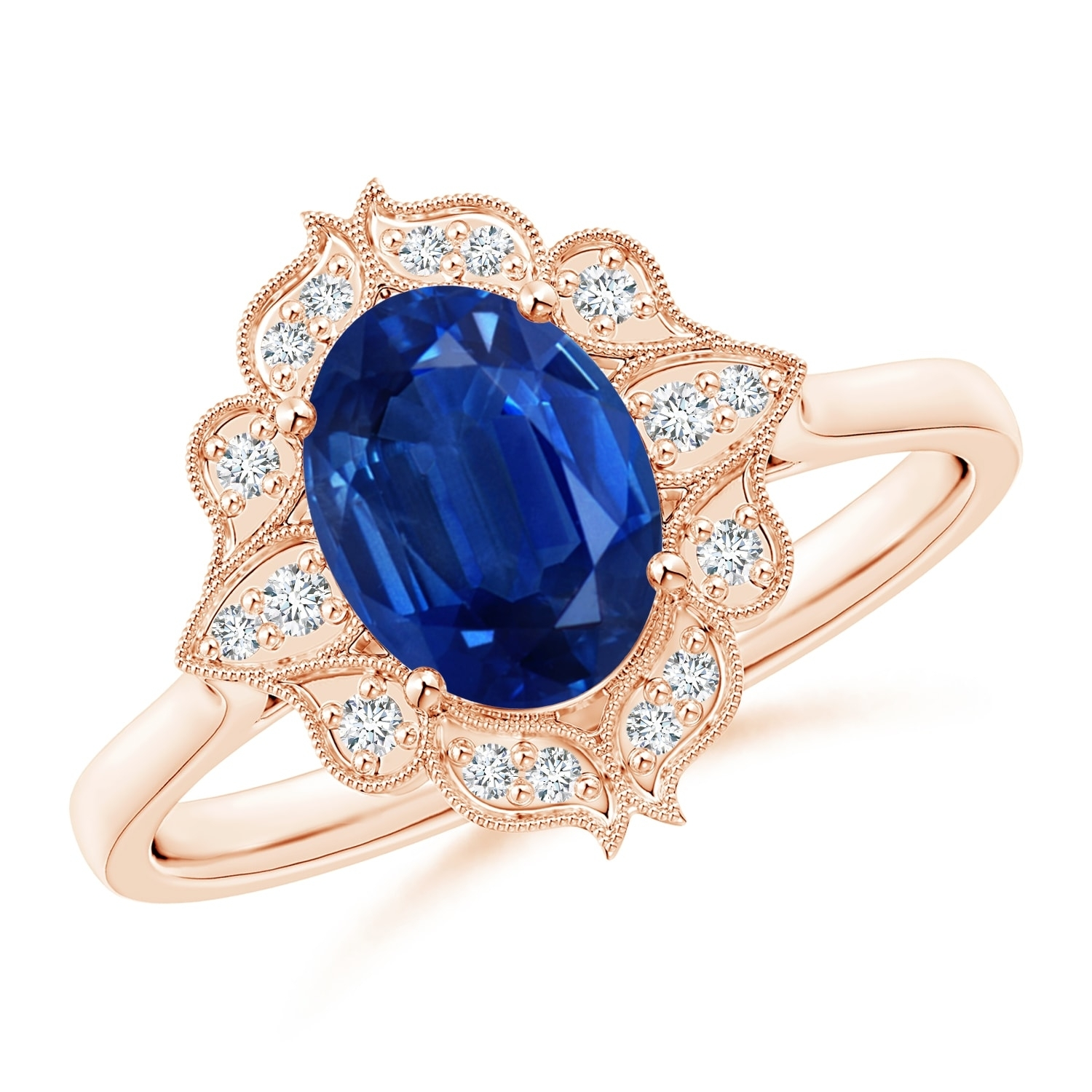 Vintage Style Oval Sapphire Engagement Ring With Floral Halo | Angara Pertaining To Current Vintage Style Sapphire Engagement Rings (View 11 of 15)
