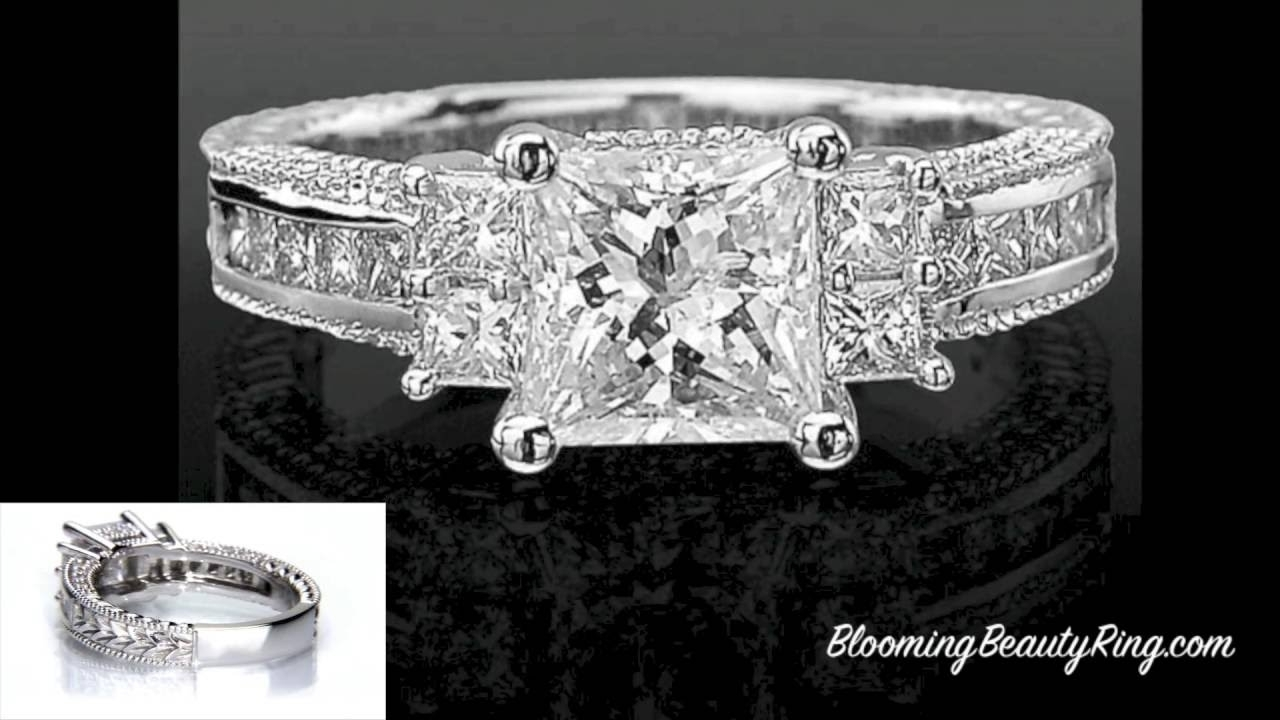Vintage Style Princess Cut Engagement Ringbloomingbeautyring For Recent Vintage Style Princess Cut Diamond Engagement Rings (Gallery 13 of 15)