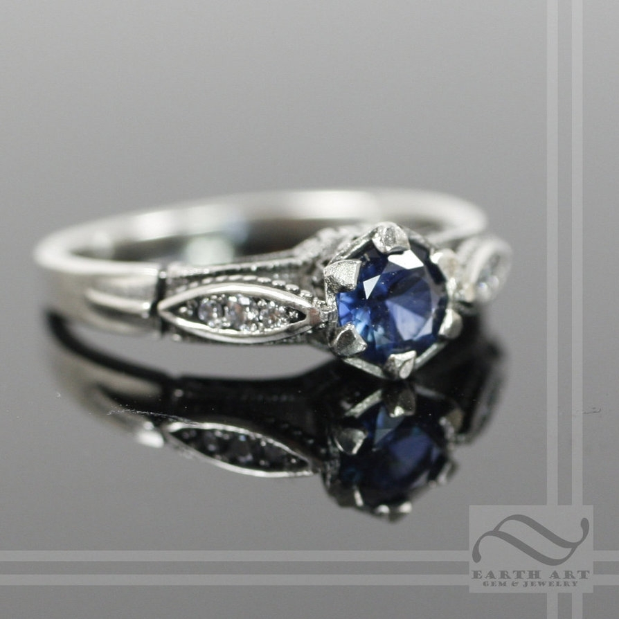Vintage Style Sapphire And Diamond Engagement Ringmooredesign13 Inside Latest Vintage Style Diamond And Sapphire Engagement Rings (Gallery 6 of 15)