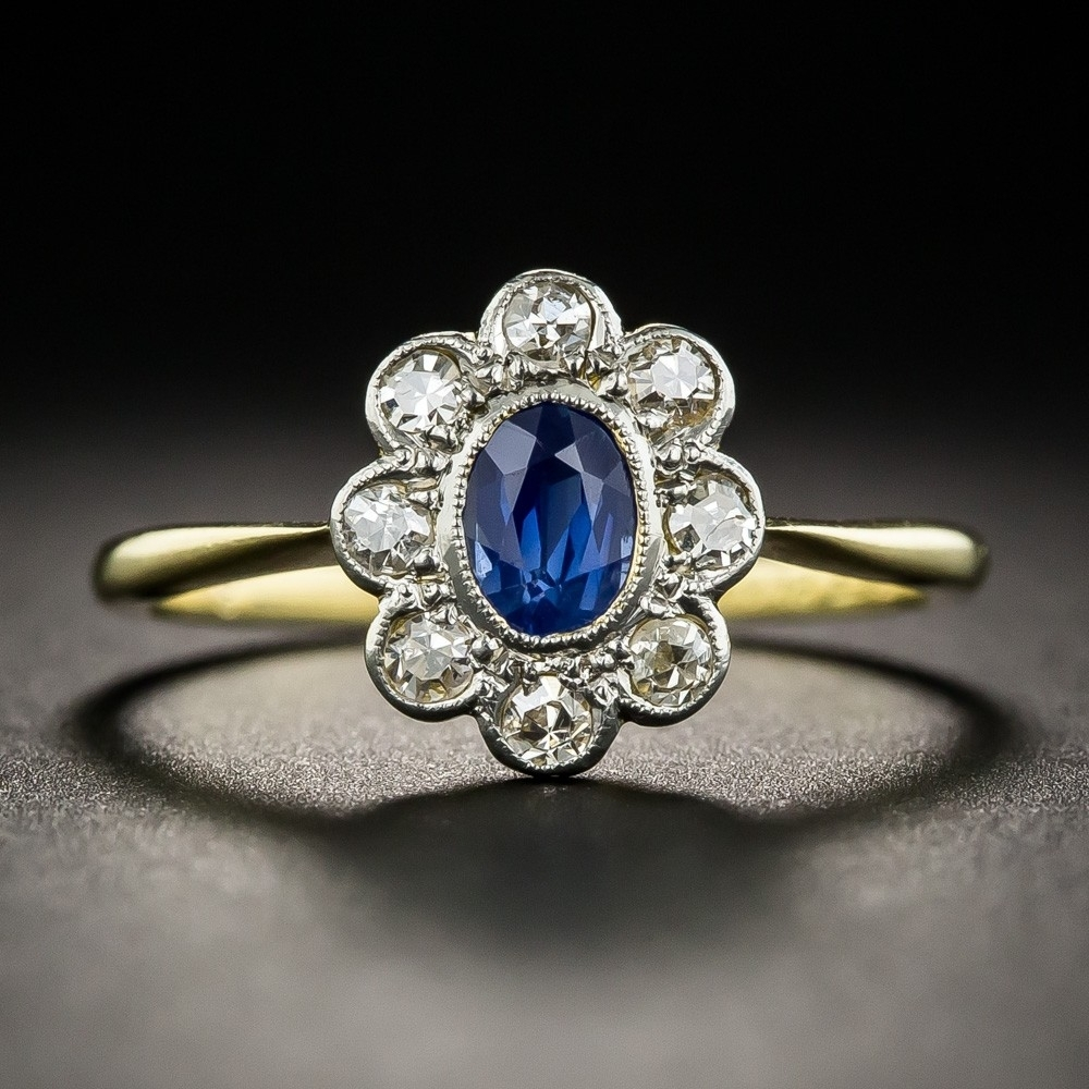 Vintage Style Sapphire Diamond Halo Ring Within Recent Vintage Style Sapphire Engagement Rings (View 14 of 15)