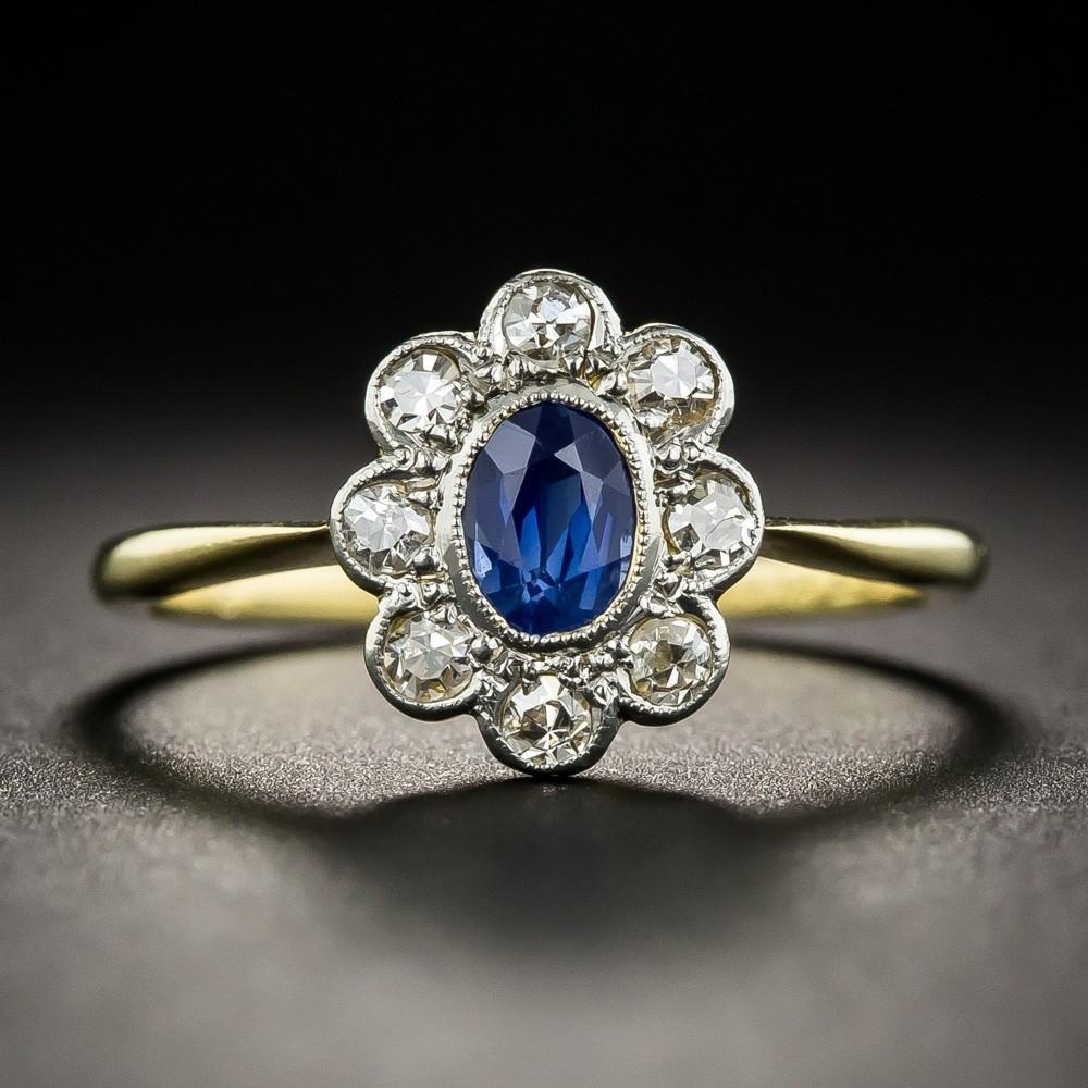Vintage Style Sapphire Diamond Halo Ring Within Recent Vintage Style Sapphire Engagement Rings (View 13 of 15)