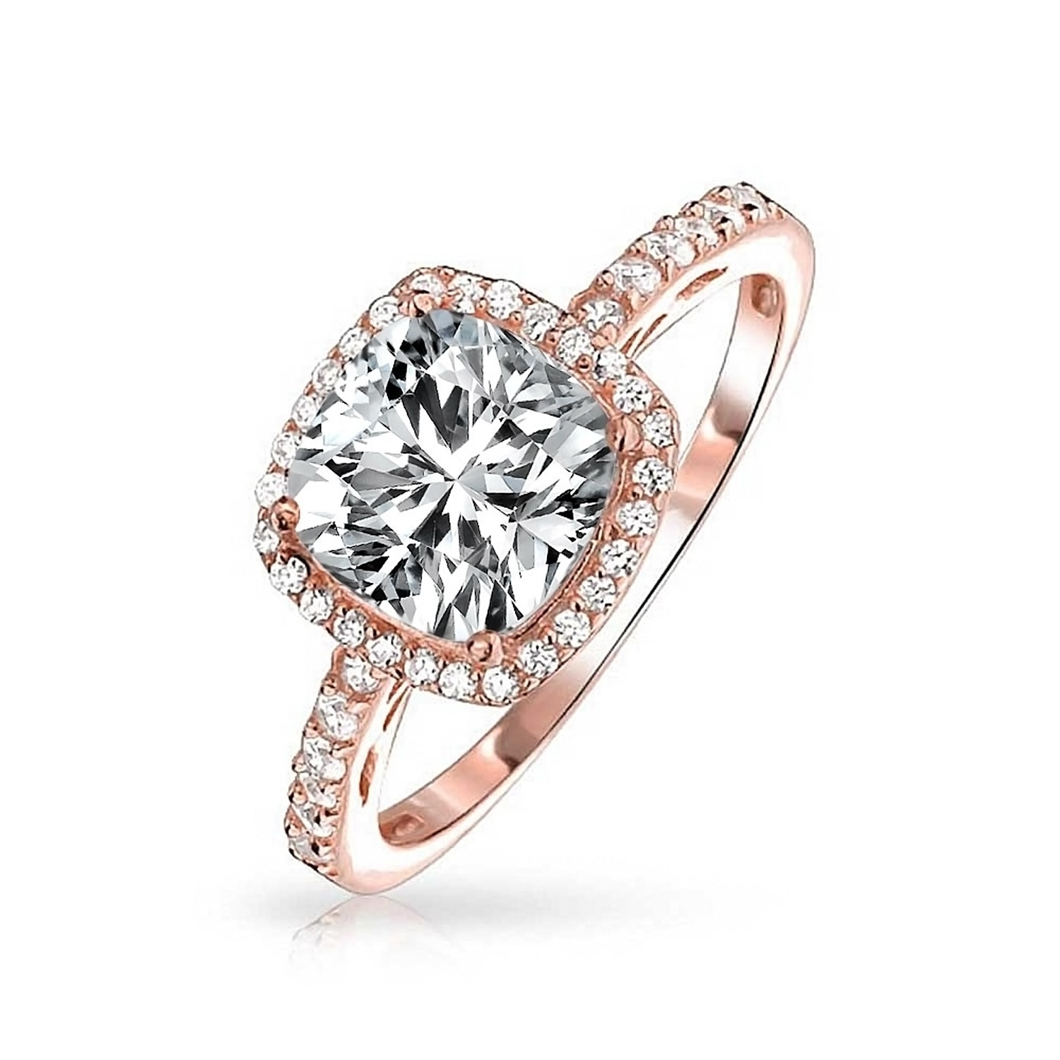 Vintage Style Sterling Silver Cushion Cut Cz Engagement Ring Within Newest Vintage Style Rose Gold Engagement Rings (View 12 of 15)