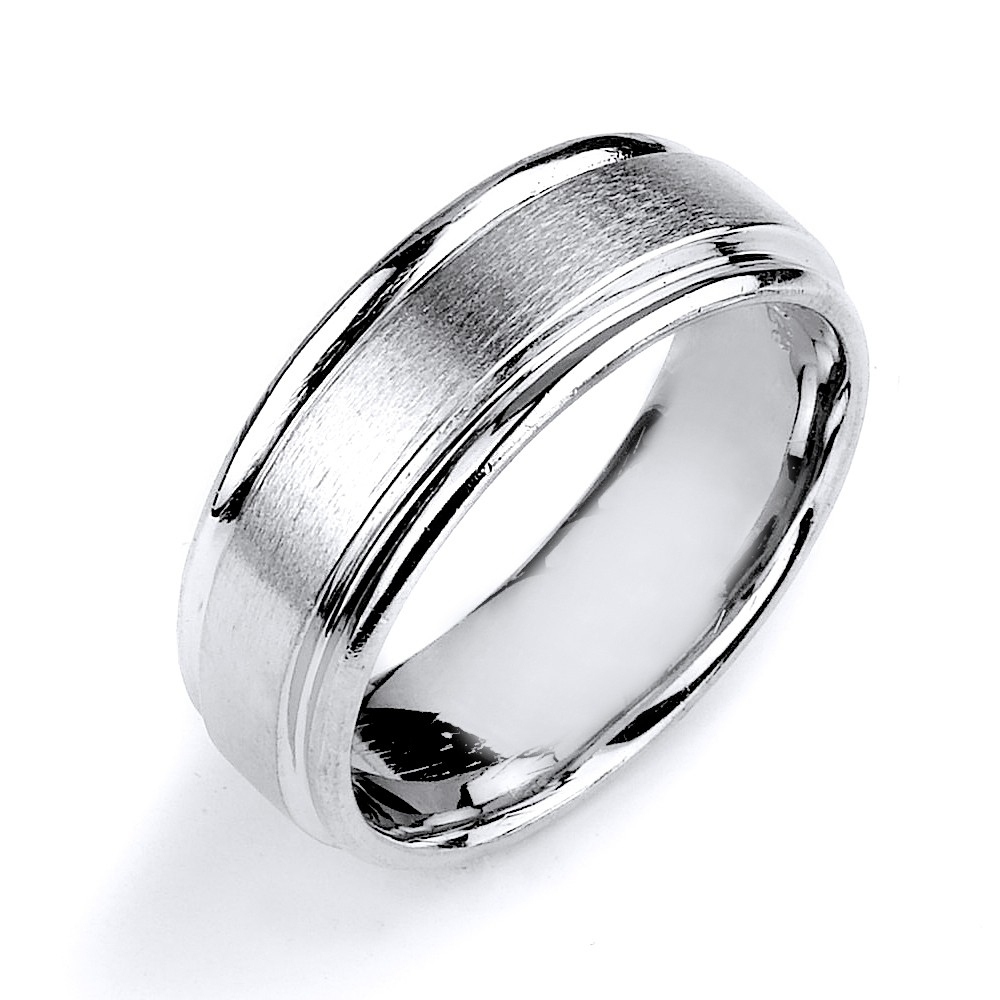 Wedding Band Made In Sterling Silver With Rhodium Plating Pertaining To Newest Diamond Wedding Bands In Sterling Silver With Yellow Rhodium (View 2 of 15)