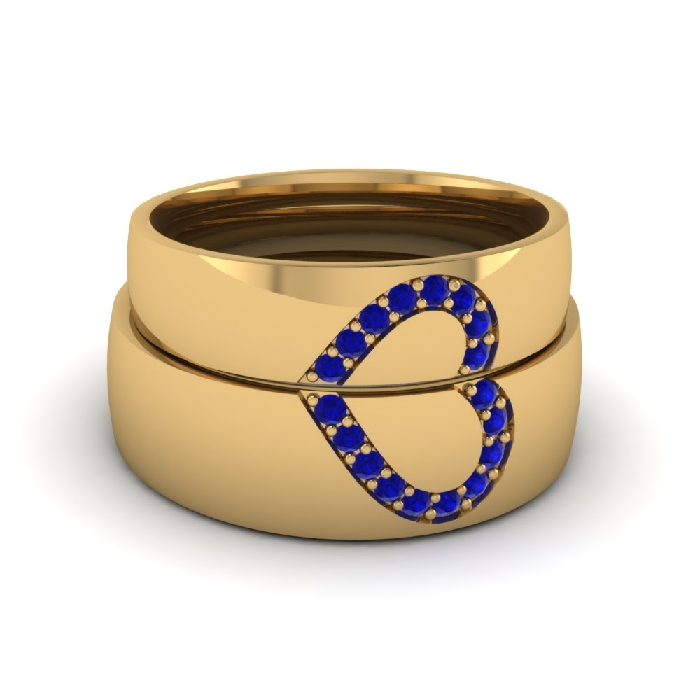 Wedding Band Sets His And Hers With Blue Sapphire In 18K Yellow Gold Regarding Most Recently Released His And Her Wedding Bands Sets (View 11 of 15)