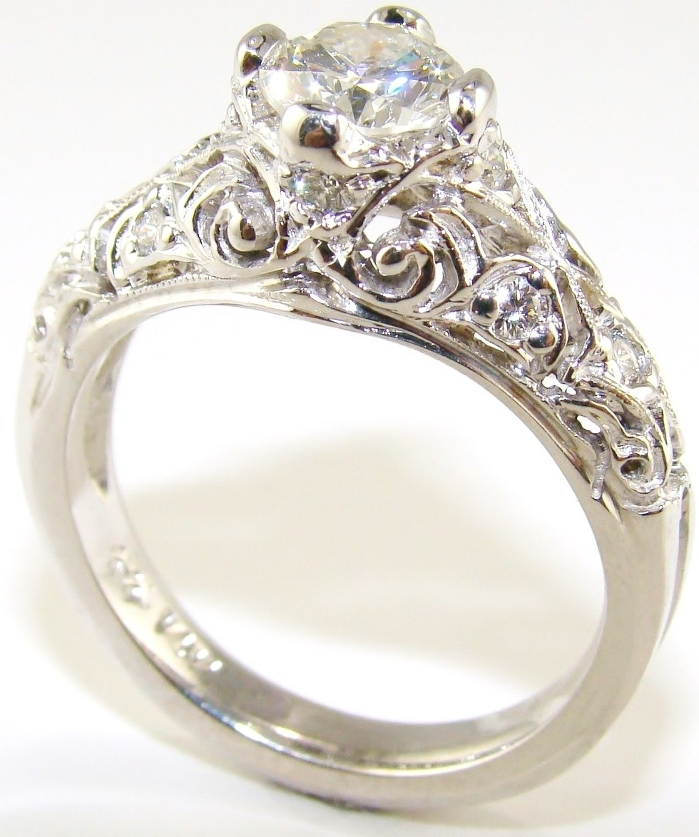 Wedding Jewelry Diamond Ring Pictures With Most Popular Vintage With Regard To Best And Newest Vintage Style Diamond Wedding Rings (View 14 of 15)