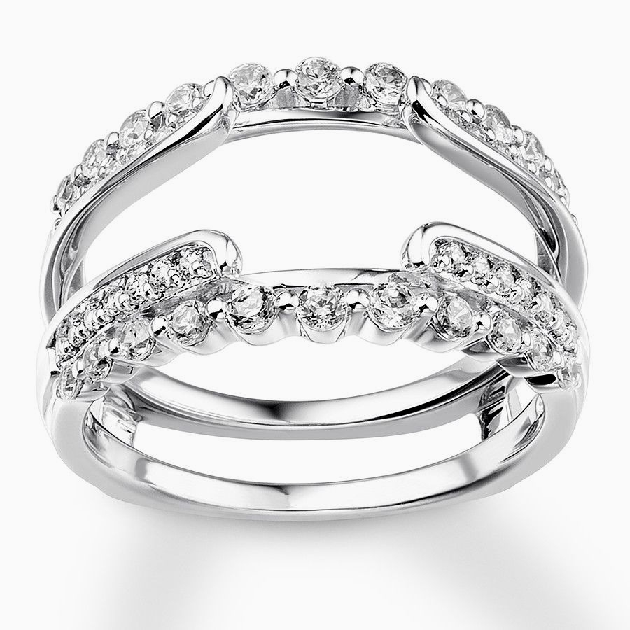 Wedding Ring Enhancers Awesome 1 3 Ct T W Diamond Contour Solitaire In 2017 Diamond Contour Solitaire Enhancers In 14K White Gold (View 13 of 15)
