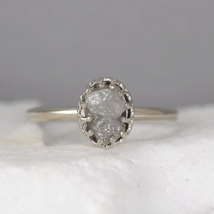 White Gold Raw Diamond Ring – Vintage Style Setting – 14K Gold Throughout Current Vintage Style Diamond Anniversary Rings (View 14 of 15)