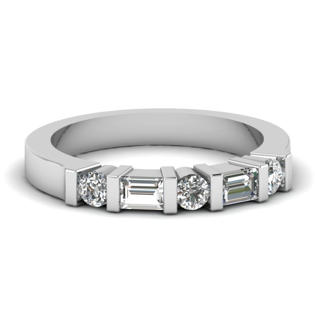 White Gold Round Baguette White Diamond Wedding Band In Bar Set With Regard To Latest Round And Baguette Diamond Anniversary Bands In 14K White Gold (Gallery 1 of 15)