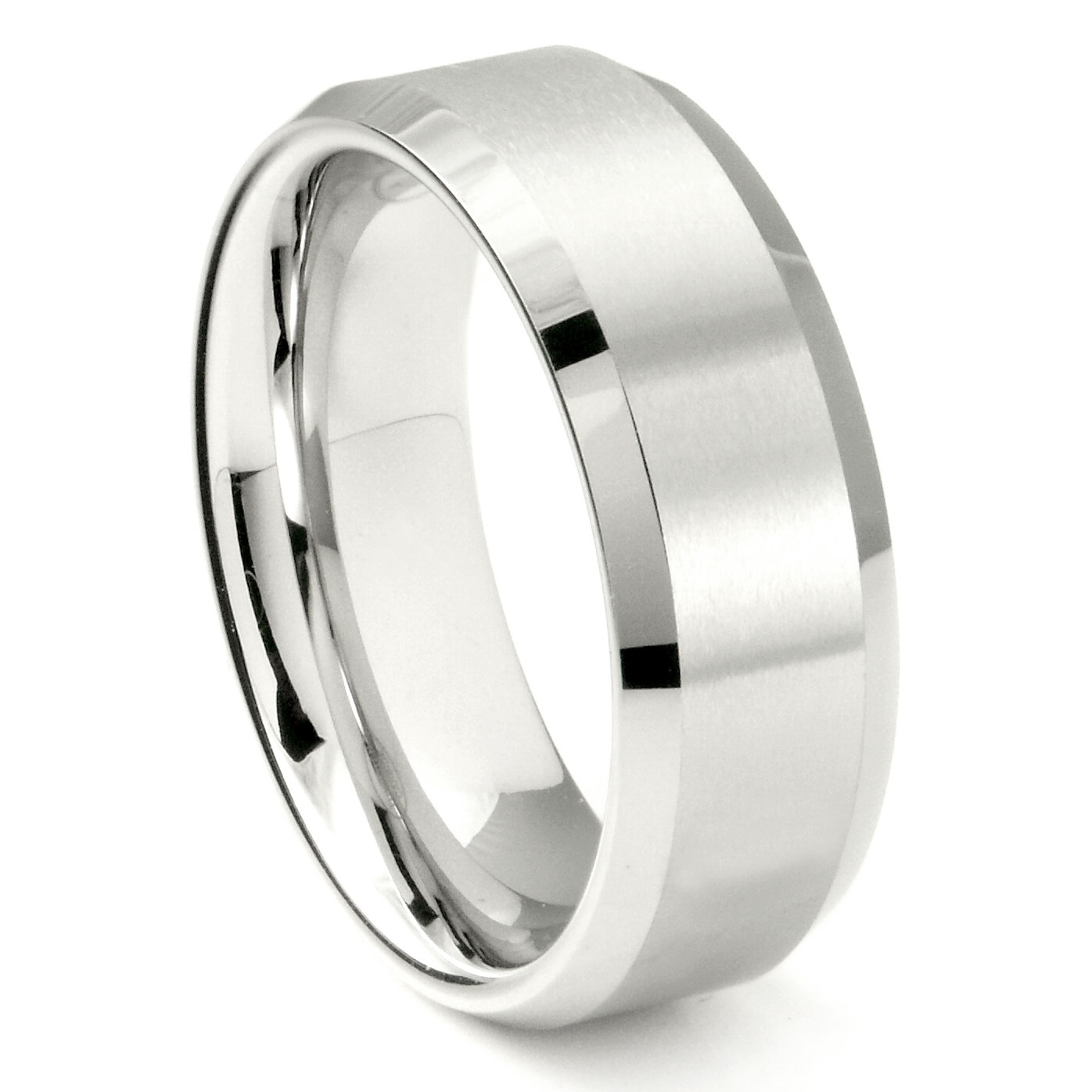 White Tungsten Carbide 8mm Beveled Wedding Band Ring Within Most Current Tungsten Wedding Bands (View 5 of 15)