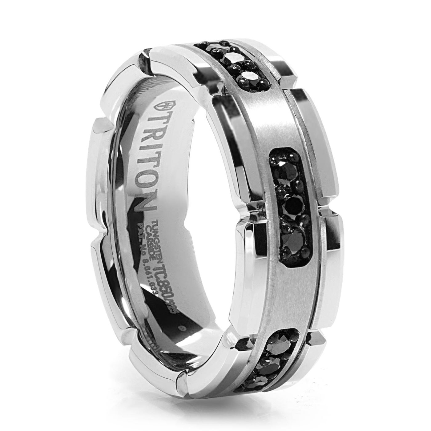 White Tungsten Ring With Black Diamonds – Triton Tungsten Black Throughout Most Current Tungsten Wedding Bands (View 7 of 15)
