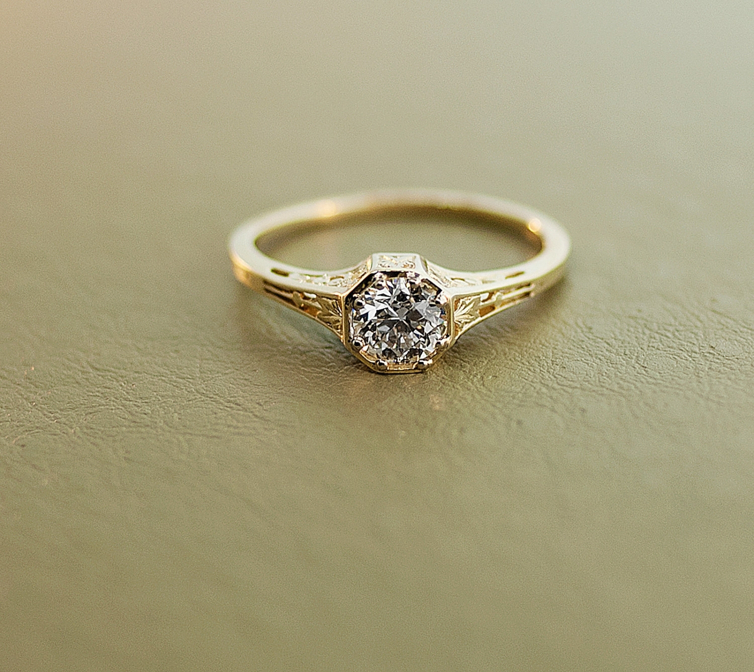 Yellow Gold Antique Engagement Rings | Wedding, Promise, Diamond With Most Popular Diamond Art Deco Vintage Style Anniversary Bands (View 15 of 15)