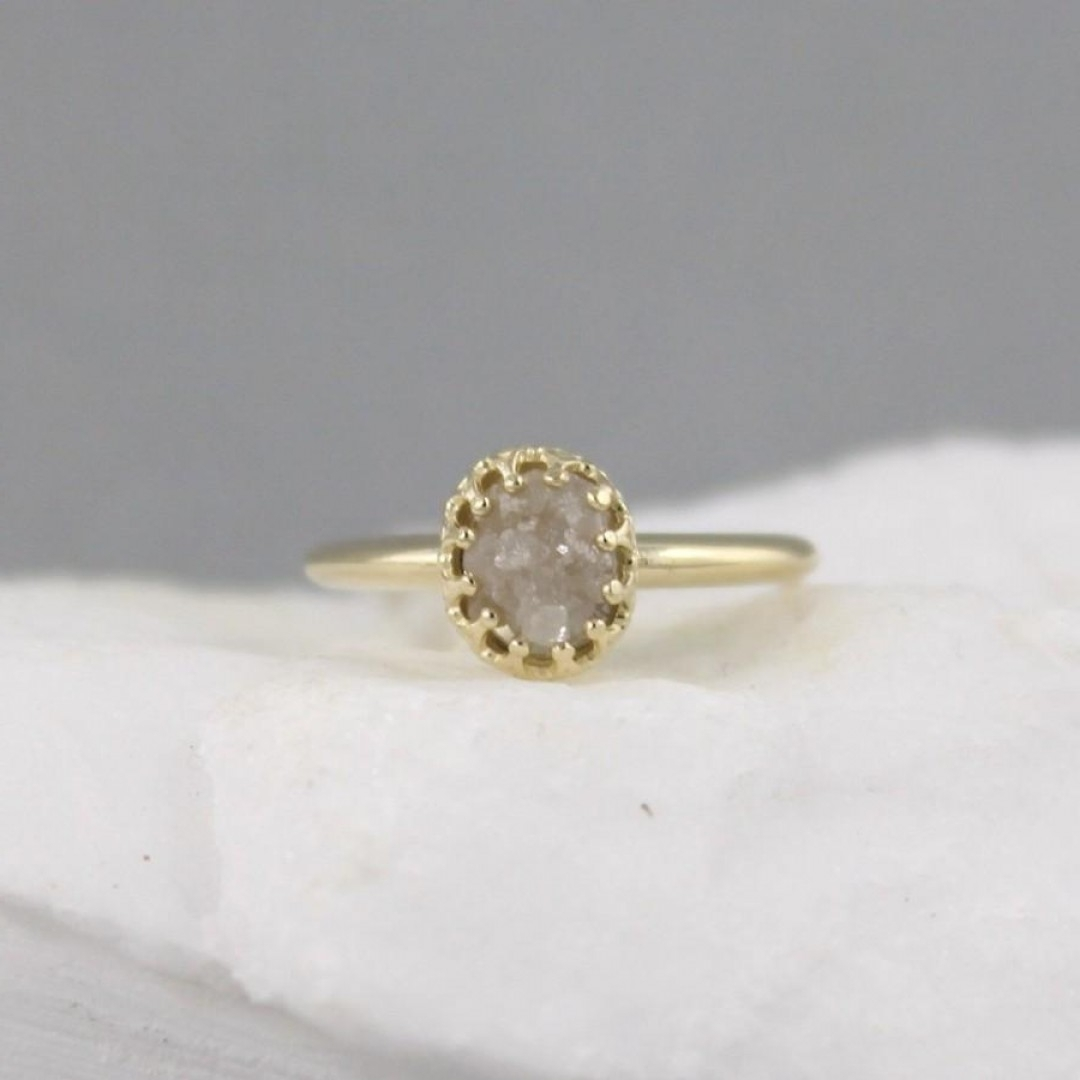 Yellow Gold Raw Diamond Ring Vintage Style Setting K Gold Rough Pertaining To Most Recently Released Vintage Style Diamond Anniversary Rings (View 15 of 15)