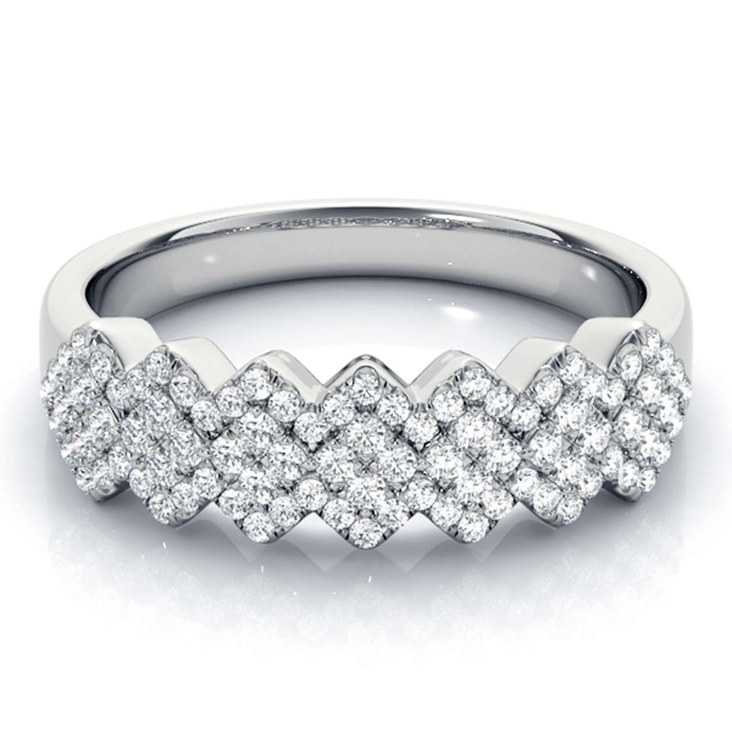 Zigzag 5/8 Ctw Multi Row Diamond Anniversary / Wedding Band In 18K Regarding Recent Diamond Zig Zag Anniversary Rings In 18K White Gold (View 13 of 15)