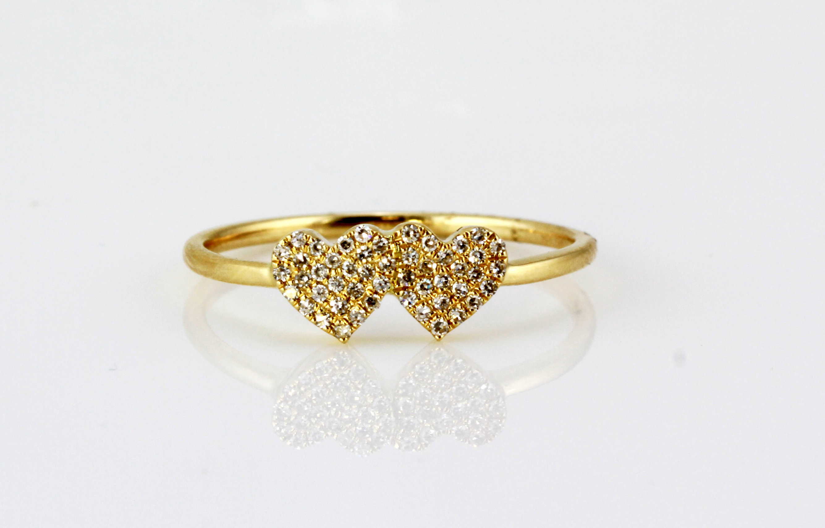 0.12Ct Pavé Round Diamonds 14K Yellow Gold 2 Hearts Band Ring Pertaining To Current Pavé Hearts Band Rings (Gallery 13 of 25)