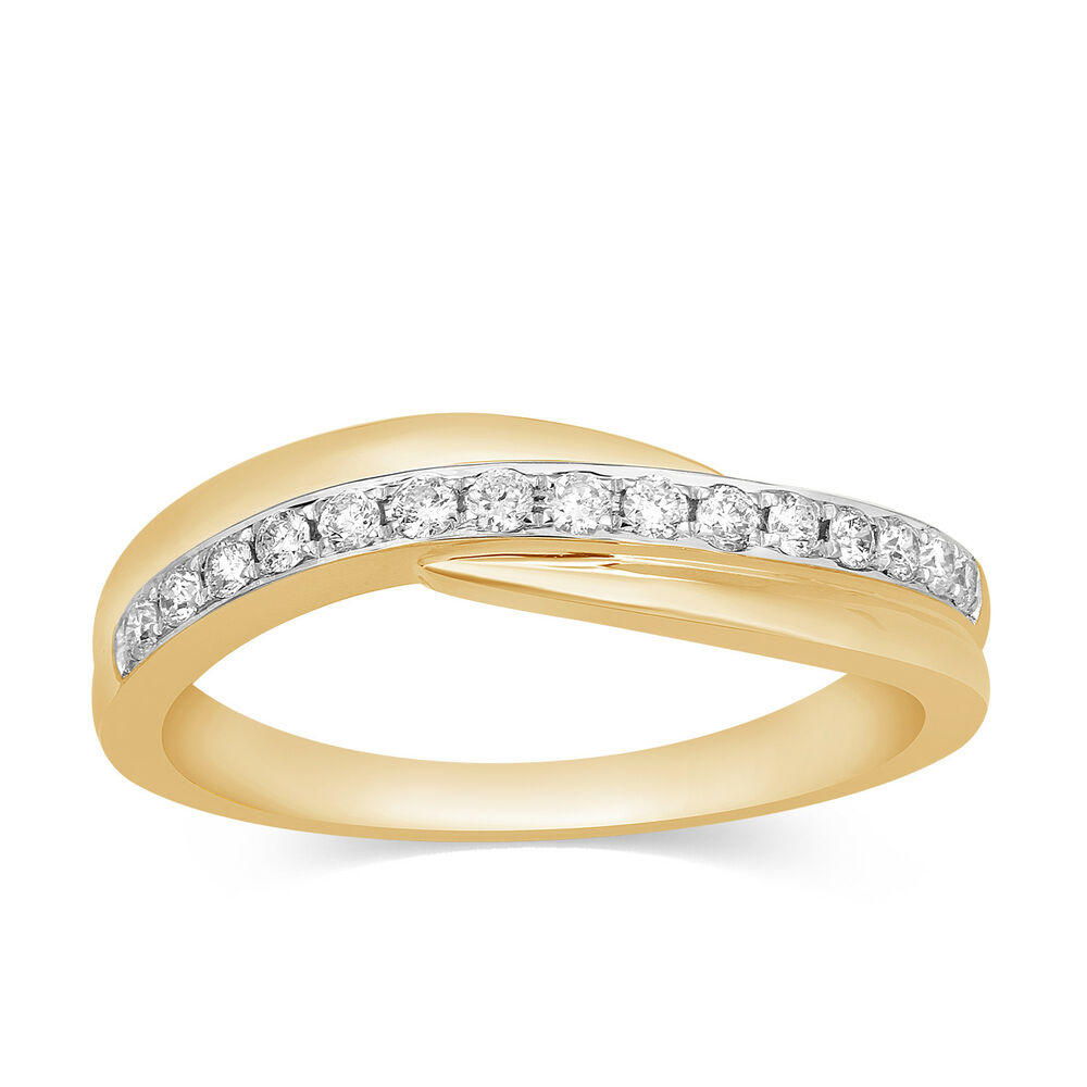 0.20 Ct Round Cut Real Diamond Wedding Anniversary Band Ring 10K Yellow  Gold New | Ebay In Most Popular Princess Cut Diamond Criss Cross Anniversary Bands In White Gold (Gallery 19 of 25)