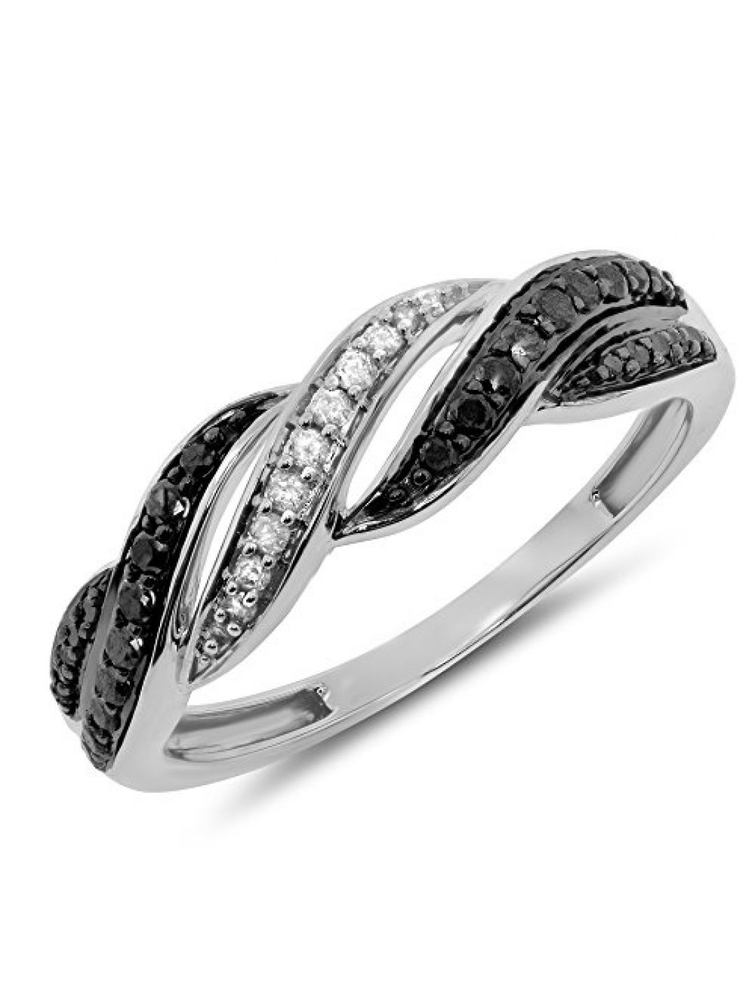 0.24 Carat (Ctw) 10K Two 2 Tone Gold Black Diamond Infinity Twisting Swirl  Anniversary Fashion Band Ring – White Gold, Size  (View 1 of 25)