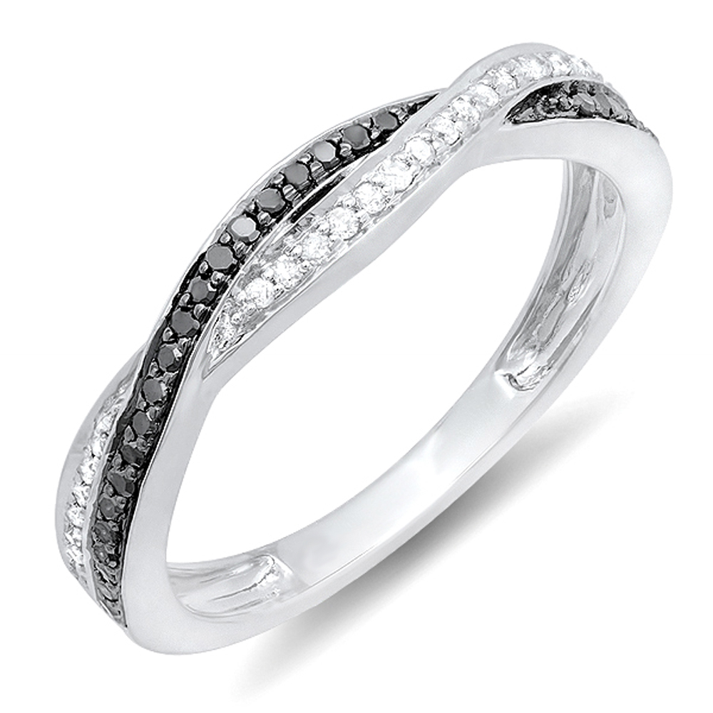 0.25 Carat (Ctw) 14K Gold Round Black & White Diamond Anniversary Wedding  Band Swirl Matching Ring 1/4 Ct In Most Popular Diamond Swirl Anniversary Bands In White Gold (Gallery 18 of 25)