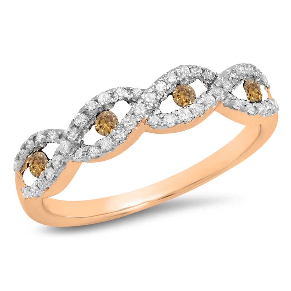 Featured Photo of Champagne And White Diamond Swirled Anniversary Bands In Rose Gold