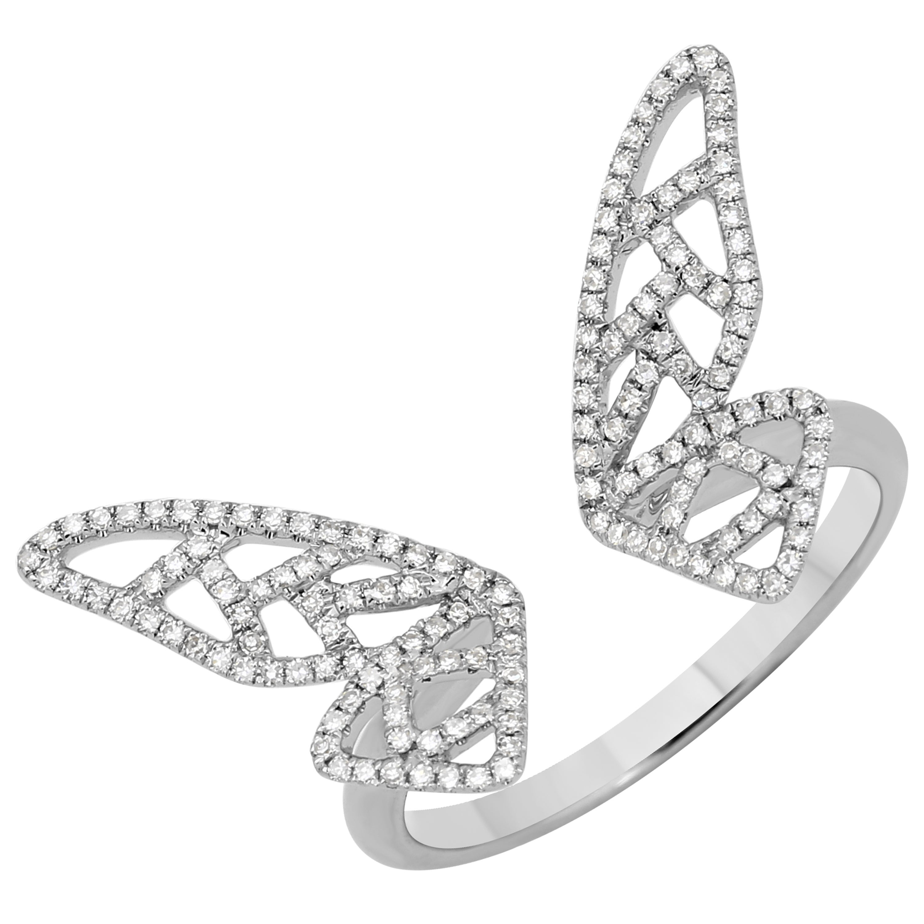 0.3 Ct Natural Diamond Open Ring 14K White Gold Butterfly Rings – Size 7 Intended For Best And Newest Butterfly Open Rings (Gallery 22 of 25)
