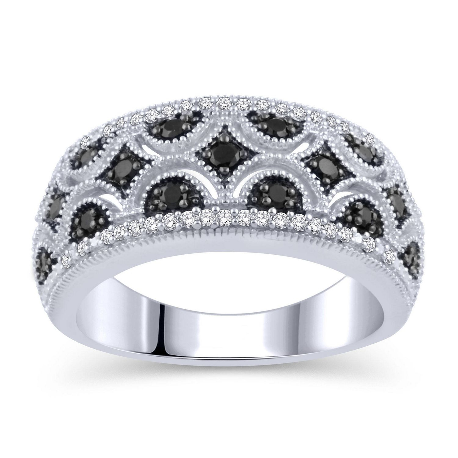 0.30 Ct. T.w. Enhanced Black And White Diamond Vintage Style Regarding Most Current Enhanced Black And White Diamond Vintage Style Anniversary Bands In Sterling Silver (Gallery 1 of 25)