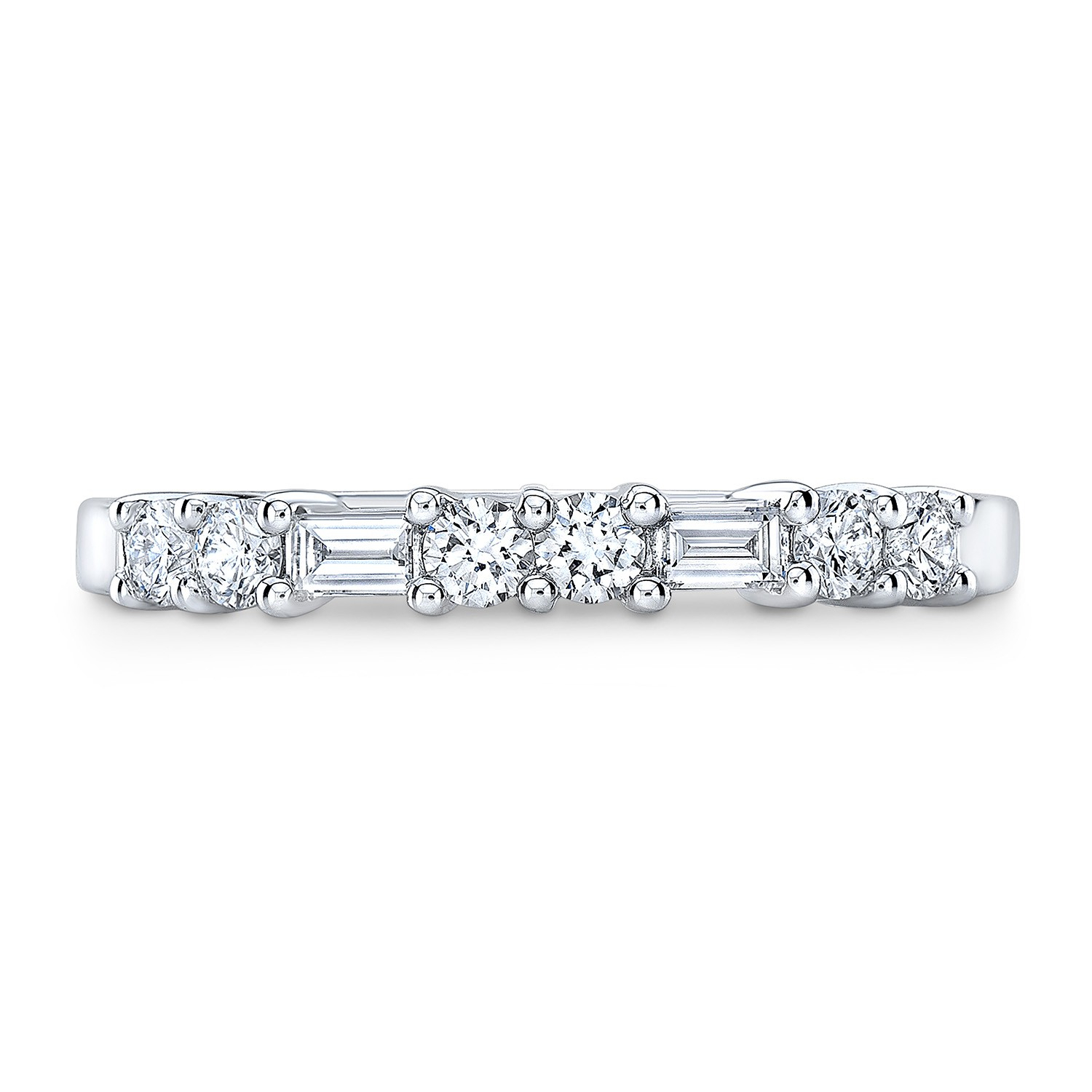 Featured Photo of Baguette And Round Diamond Alternating Anniversary Bands In White Gold