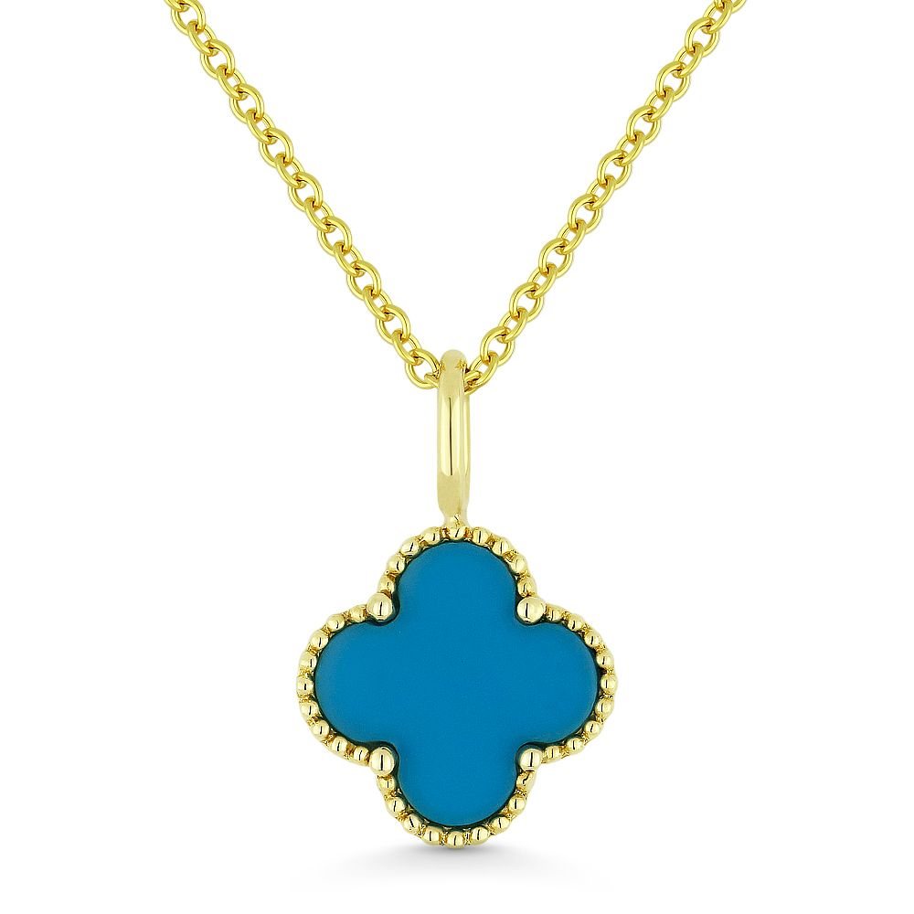 0.39Ct Turquoise 4 Petal Flower Charm Pendant & Chain Necklace In Pertaining To Most Current Four Petal Flower Necklaces (Gallery 6 of 25)