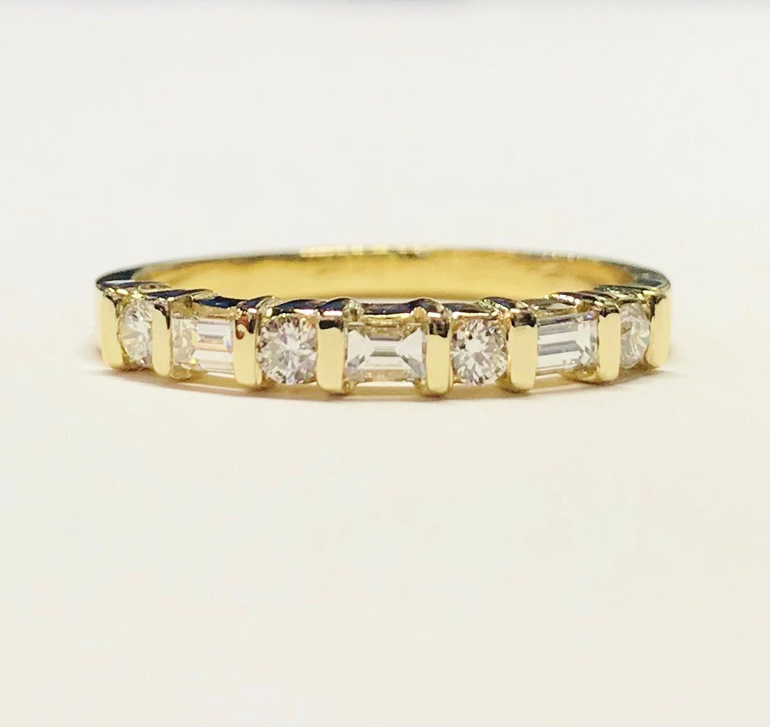 0.50Ct Diamond 3 Baguette 4 Round Brilliant Wedding Band Anniversary Ring  Bands 1/2 Eternity Rings Platinum 18K 14K White Yellow Rose Gold For Recent Diamond Channel Set Anniversary Bands In Rose Gold (Gallery 23 of 25)