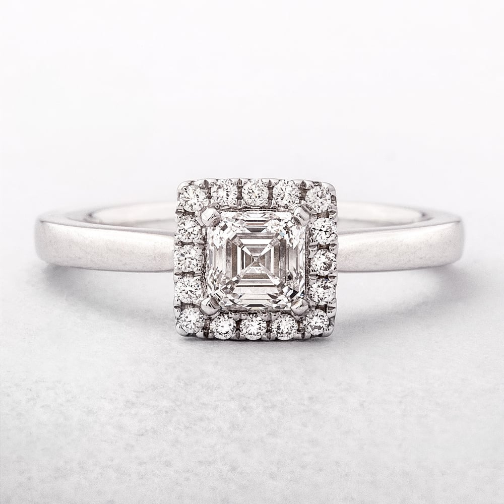 0.63Ct Square Emerald Cut Diamond Halo Ring Throughout Most Popular Blue Square Sparkle Halo Rings (Gallery 5 of 25)