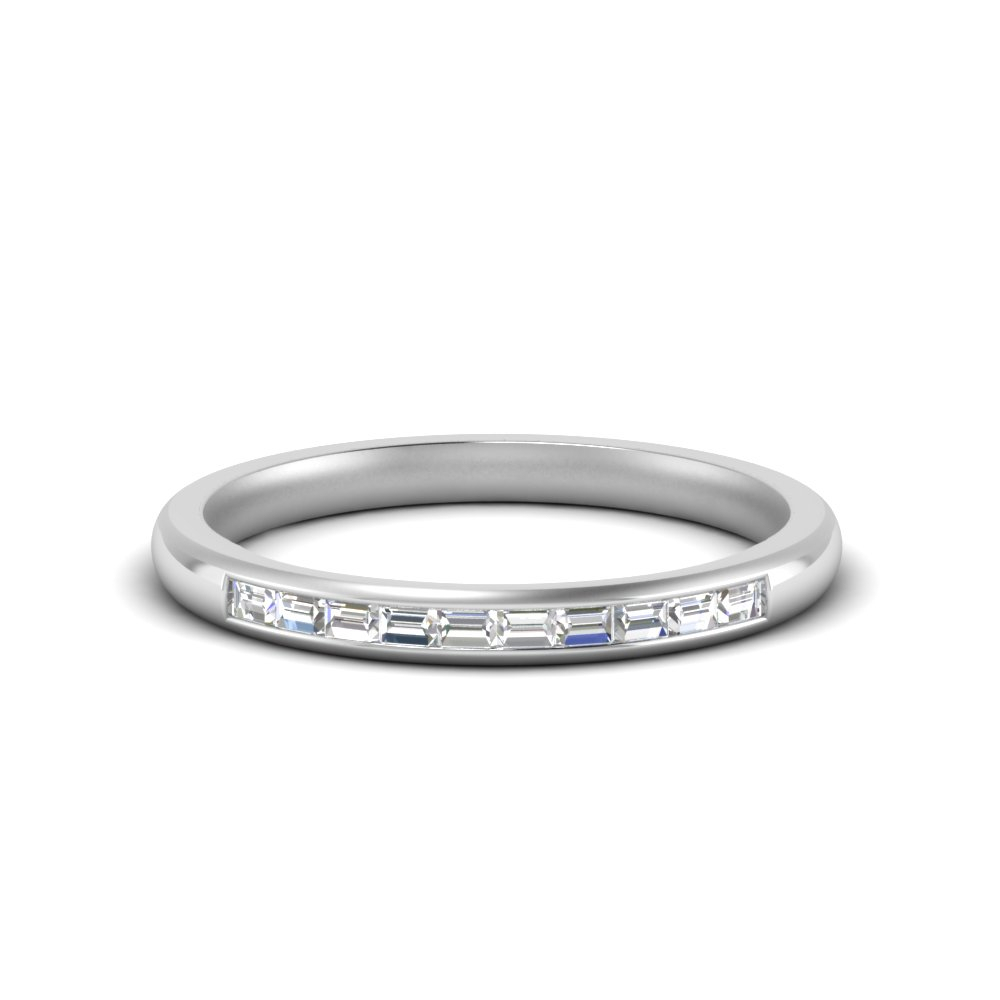 Featured Photo of Baguette Diamond Channel Set Anniversary Bands In White Gold