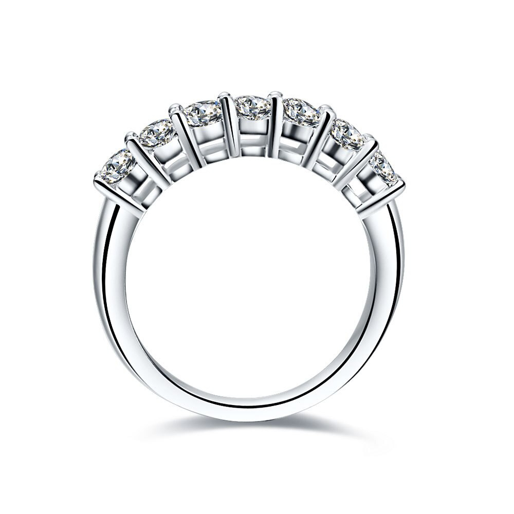 0.7Ct Seven Stones Diamond Diamond Bands For Women Royal Designer Solid 925  Sterling Silver Engagement Rings In Rings From Jewelry & Accessories On Intended For 2019 Diamond Seven Stone Anniversary Bands In Sterling Silver (Gallery 3 of 25)