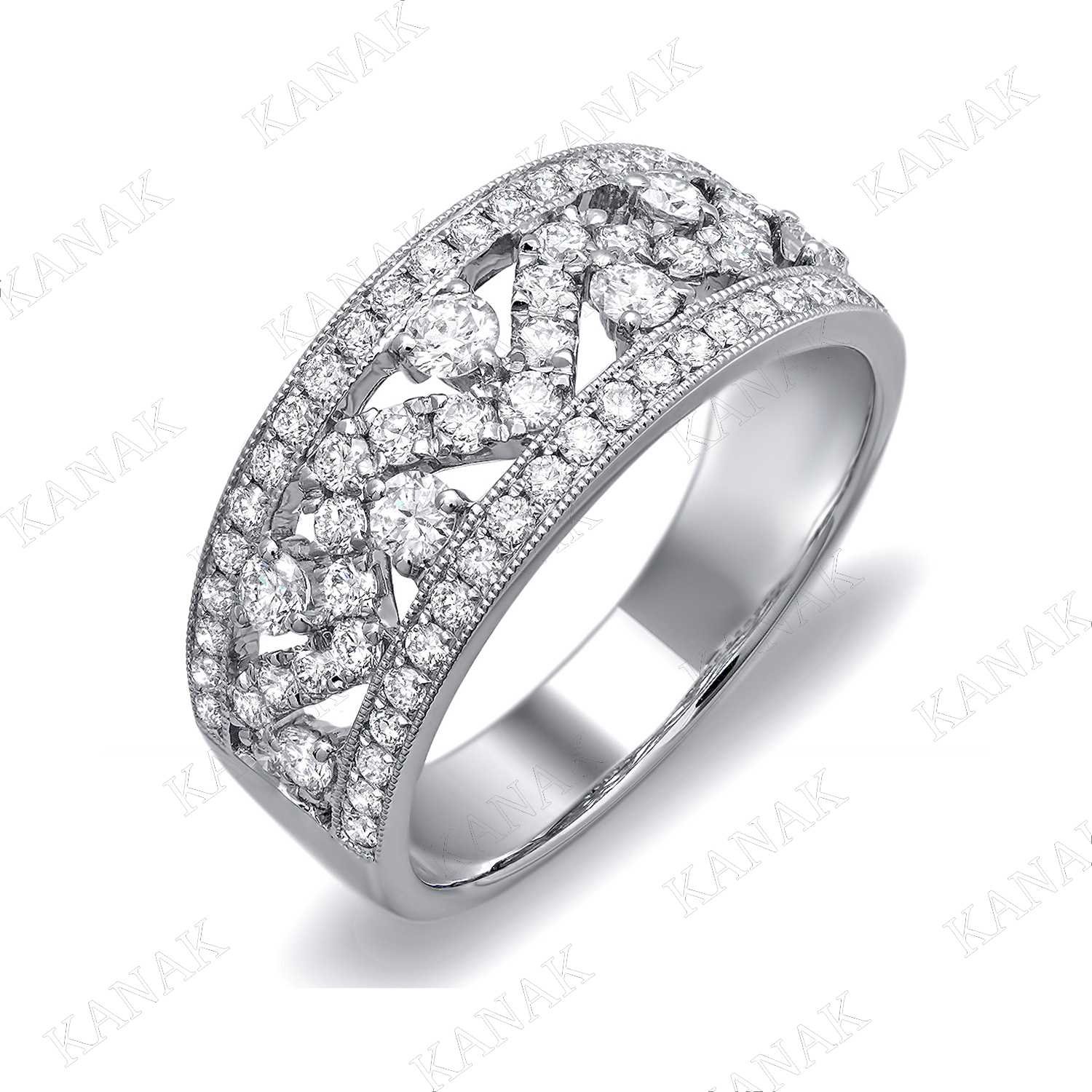 0.85 Ct Round Cut Natural Diamond Zig Zag Wedding Band Ring Throughout 2020 Diamond Zig Zag Anniversary Rings In White Gold (Gallery 11 of 25)