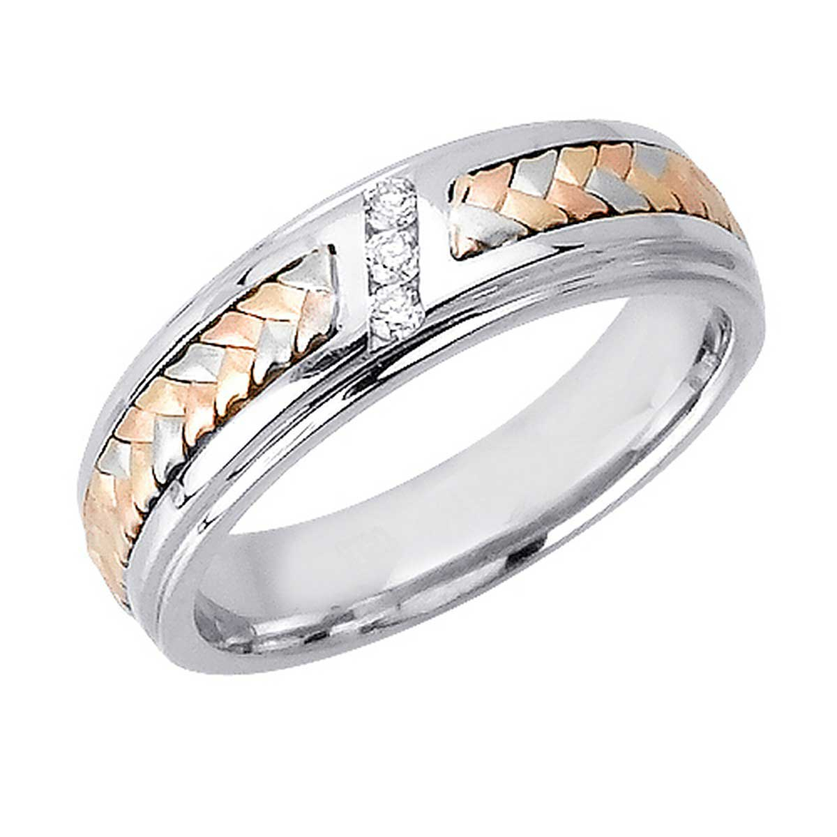 09ct Tcw 14k Tri Color Gold Basket Braid Band 6mm 3002543 For 2019 Diamond Braid Anniversary Bands In White Gold (View 10 of 25)