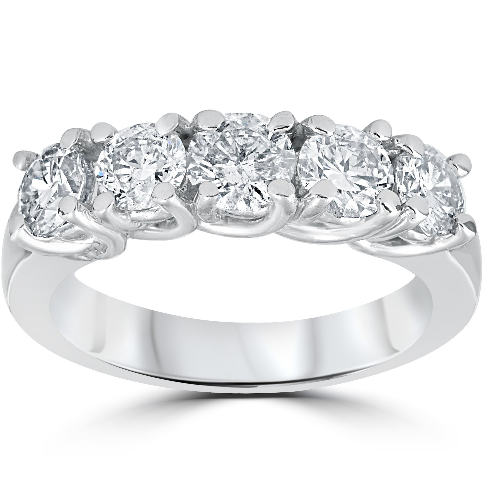 """1 1/2Ct Real Diamond Wedding Anniversary Band Womens 14K White Gold Ring Inside Best And Newest Diamond Five Stone """"s"""" Anniversary Bands In Sterling Silver (View 2 of 25)"""