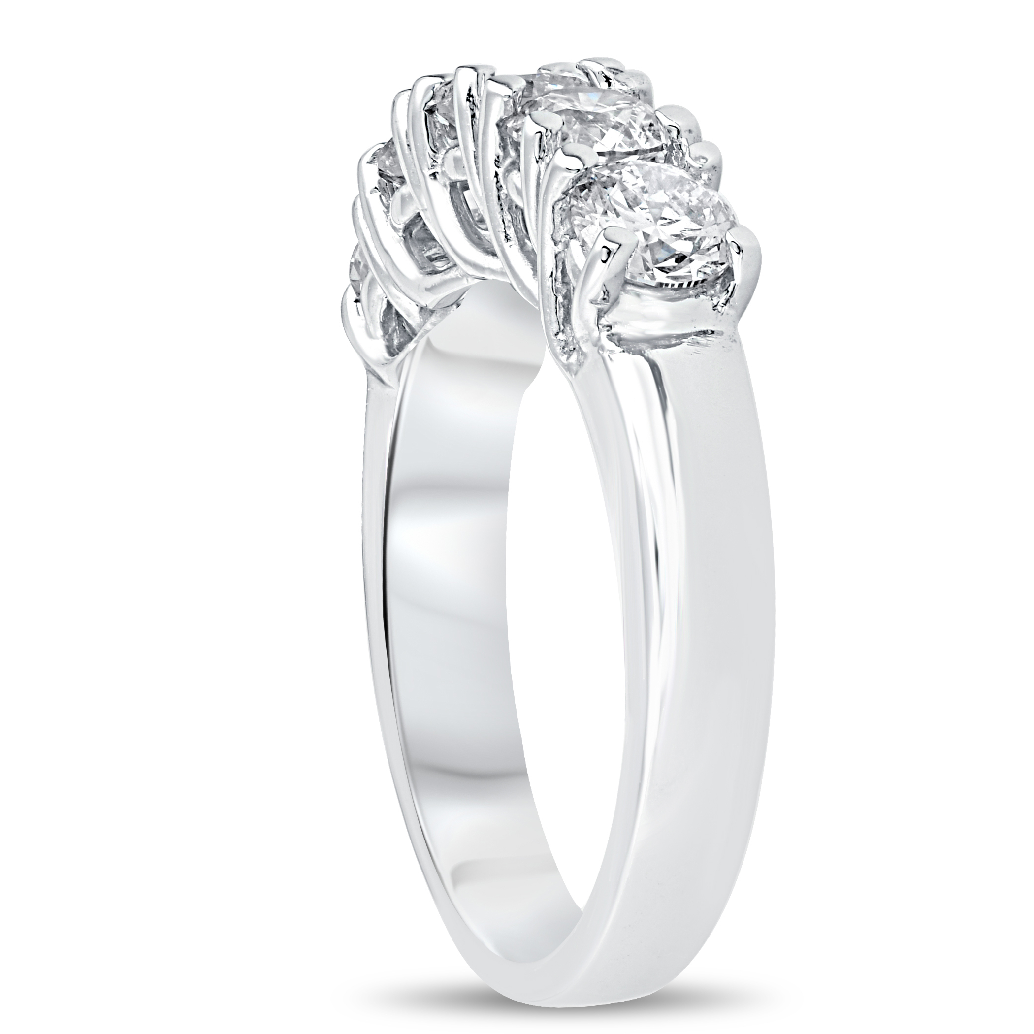 1 1/2Ct Real Diamond Wedding Anniversary Band Womens 14K White Gold Ring Inside Best And Newest Diamond Station Anniversary Bands In Rose Gold (View 4 of 25)