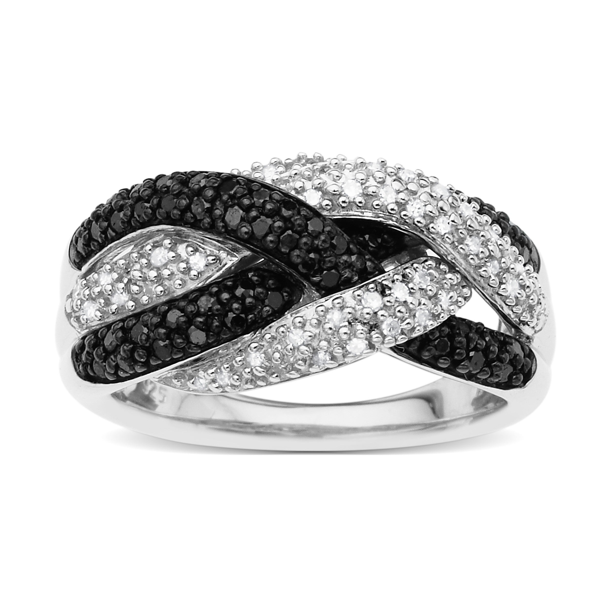 1/2 Ct Black And White Diamond Ring In Sterling Silver – Size 7 Inside 2020 Enhanced Black And White Diamond Anniversary Bands In Sterling Silver (View 2 of 25)
