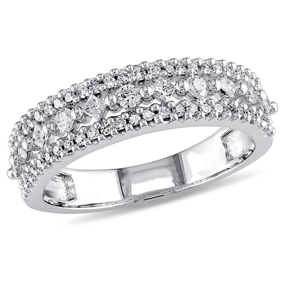 1/2 Ct Tw Princess Cut And Round Diamond Vintage Anniversary Inside 2020 Baguette And Round Diamond Alternating Multi Row Anniversary Bands In White Gold (View 5 of 25)