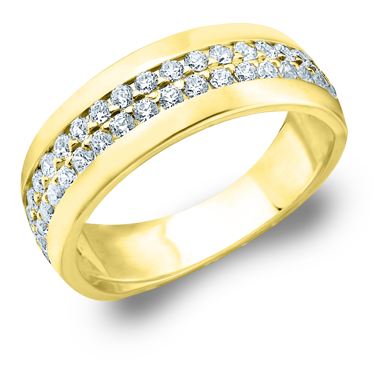 1/2 Cttw Diamond Wedding Band, 2 Row Diamond Anniversary Ring In 10K Yellow  Gold Intended For Most Popular Diamond Two Row Anniversary Rings In Gold (View 2 of 25)