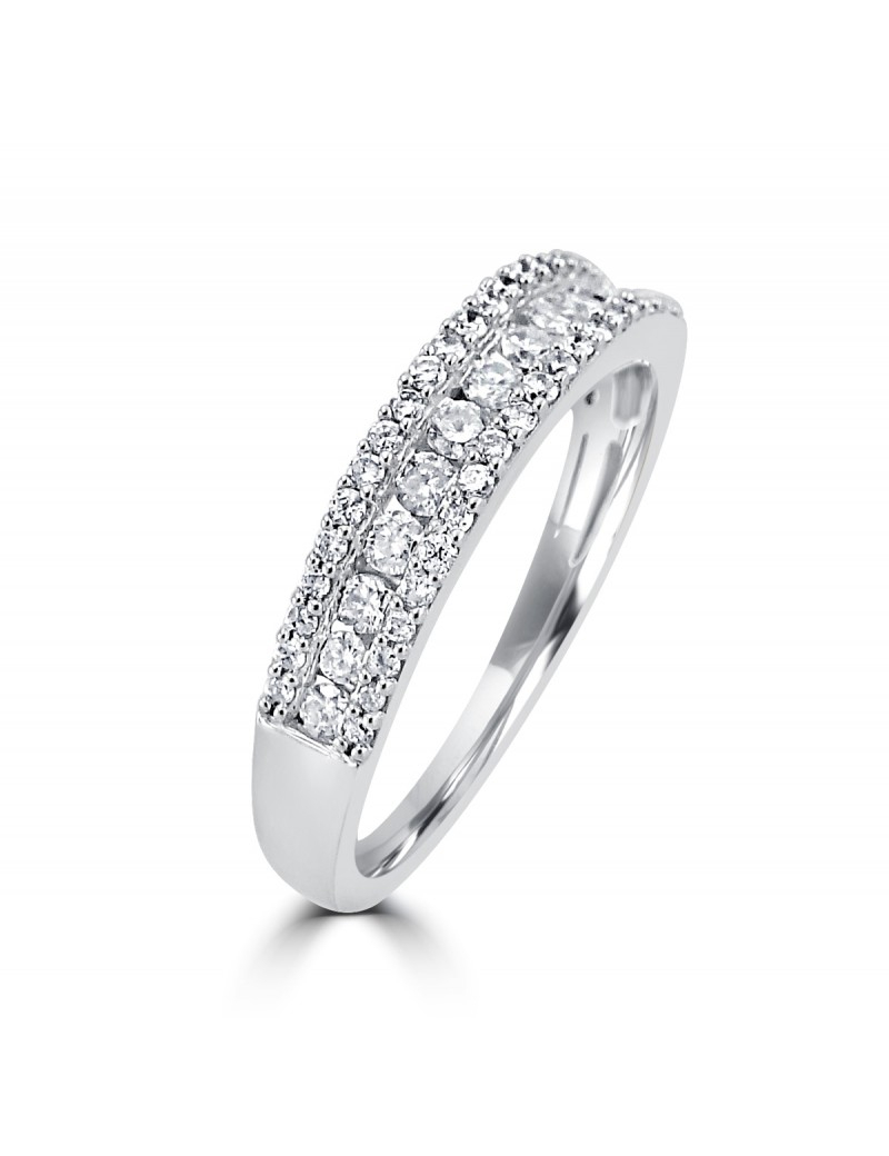 1/2Ct 3 Row Diamond 14K White Gold Channel Set Wedding In Current Diamond Three Row Anniversary Rings In White Gold (View 2 of 25)
